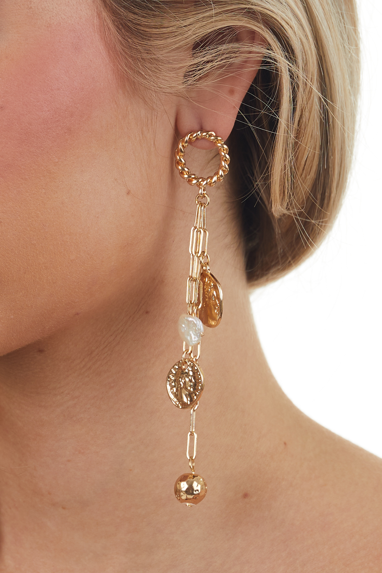 Gold Chain Dangle Earrings with Coin Charms