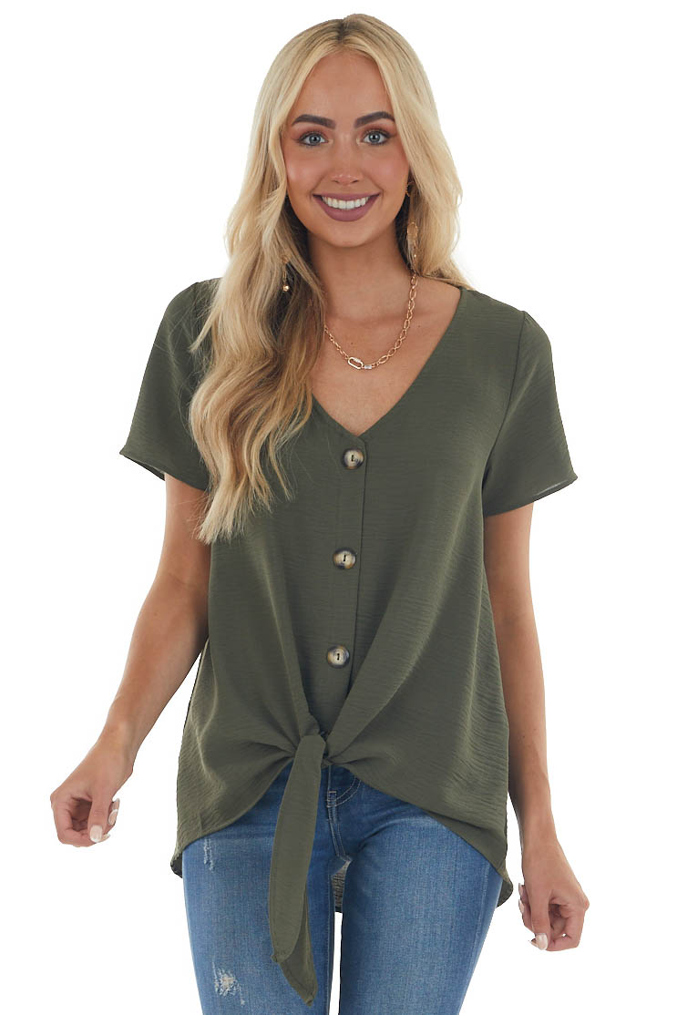 Willow Short Sleeve Button Up Top with Front Tie Detail