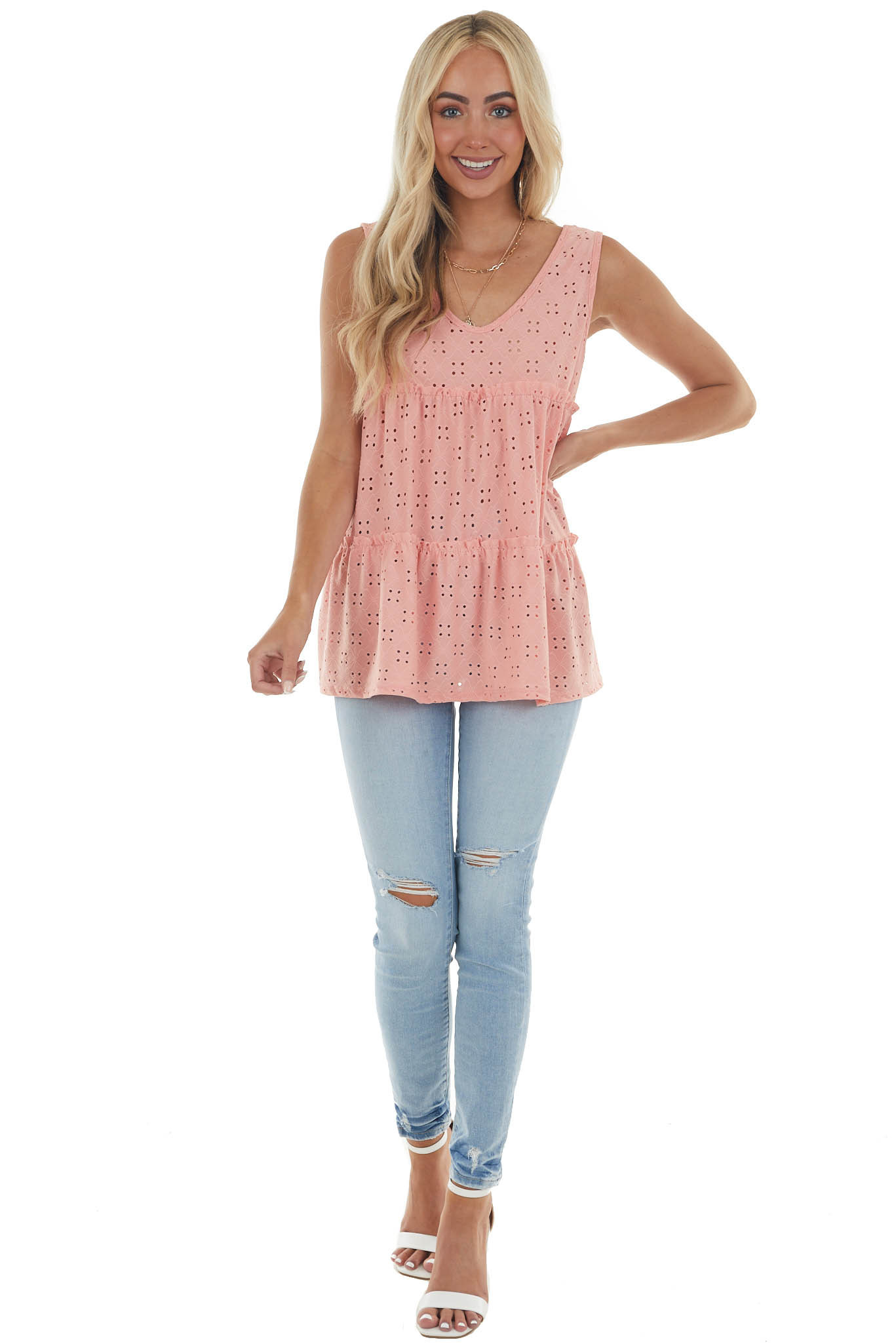 Salmon Eyelet Lace Tiered Sleeveless Top