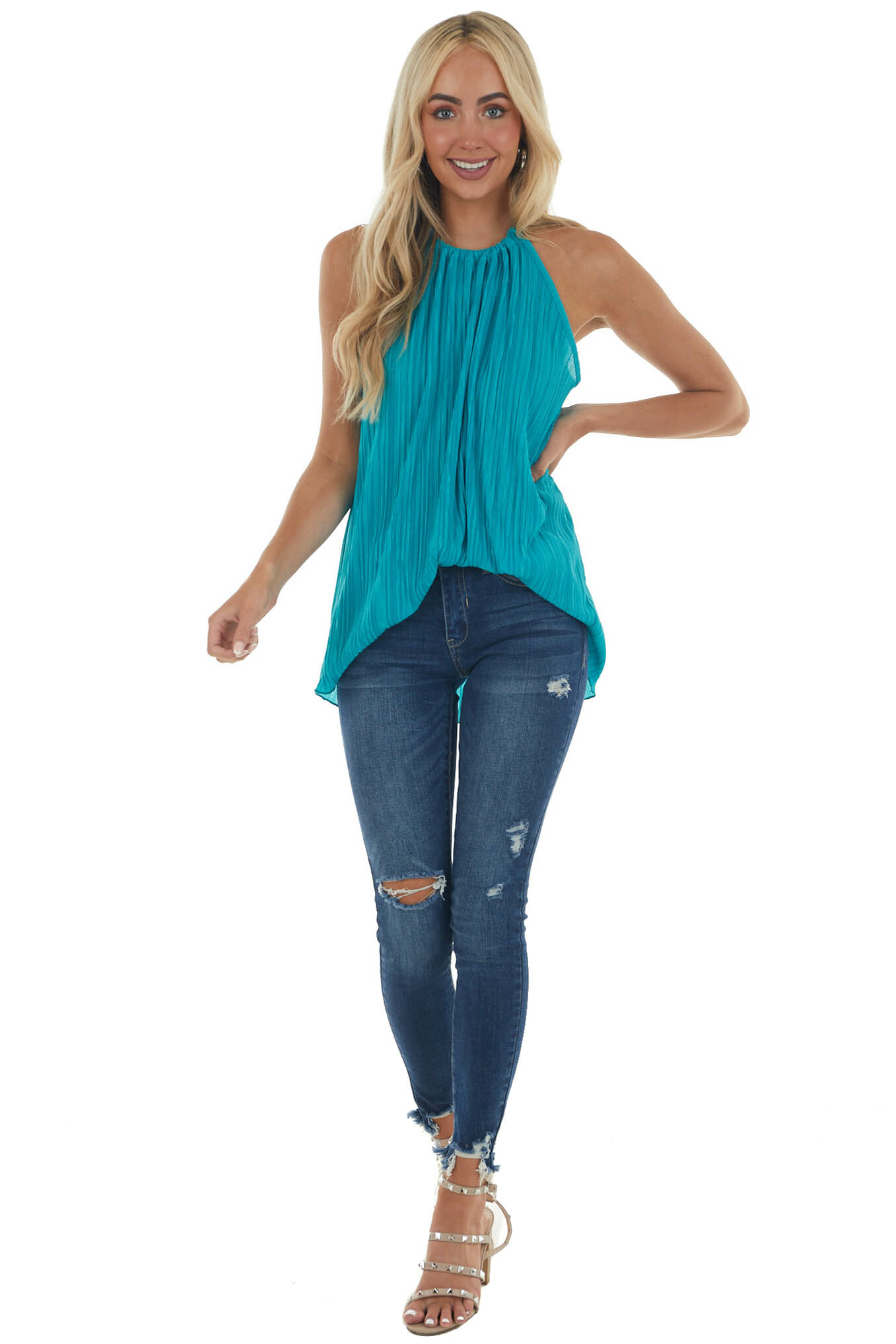 Teal Pleated Halter Neck Top