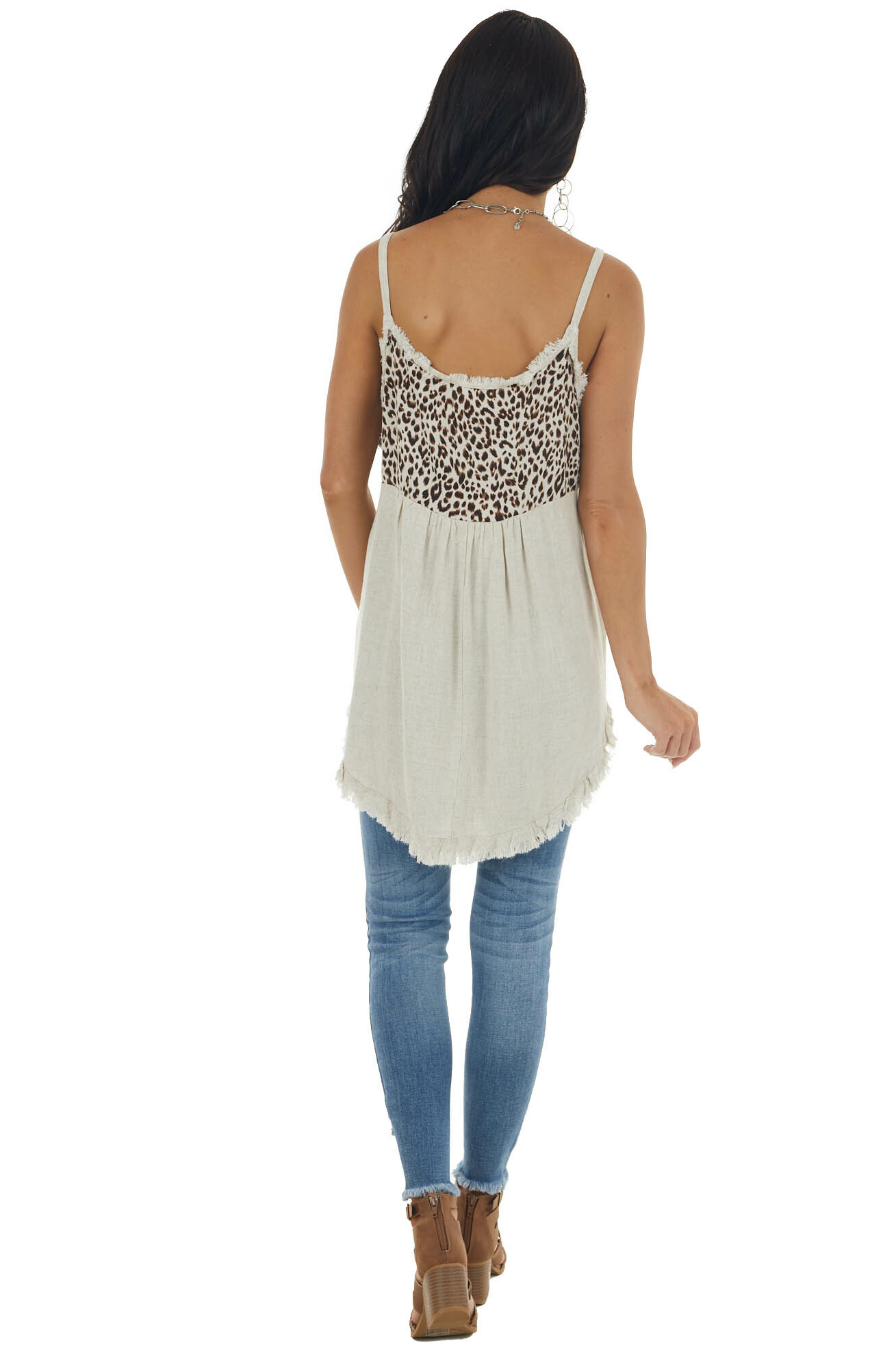 Oatmeal and Leopard Print Frayed Tank Top