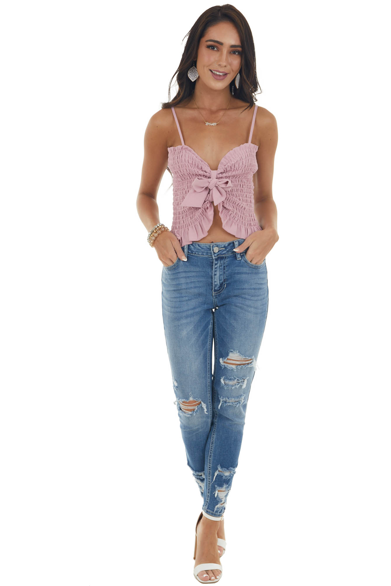 Dusty Blush Smocked Front Tie Cropped Tank Top