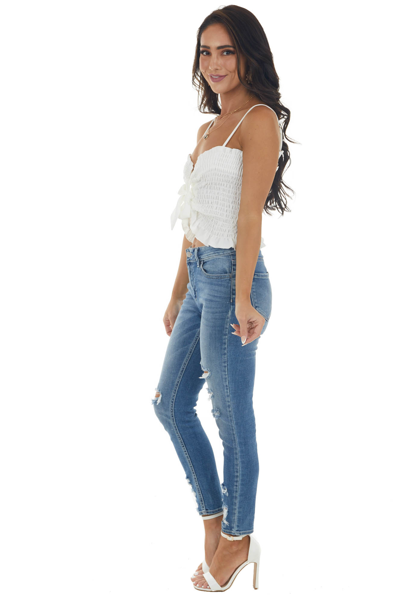 Ivory Smocked Front Tie Cropped Tank Top