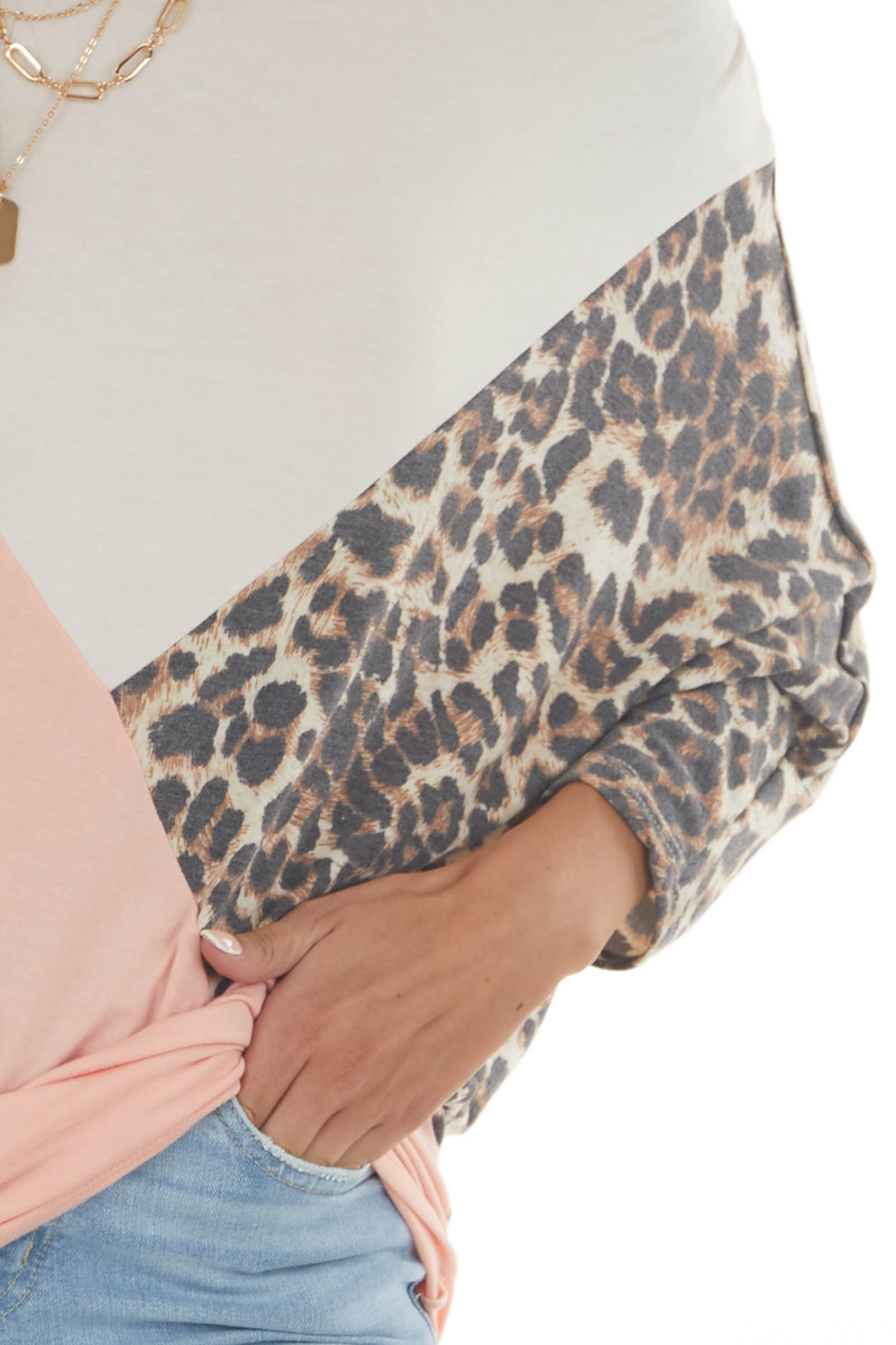 Peach and Leopard Colorblock Dolman Sleeve Top