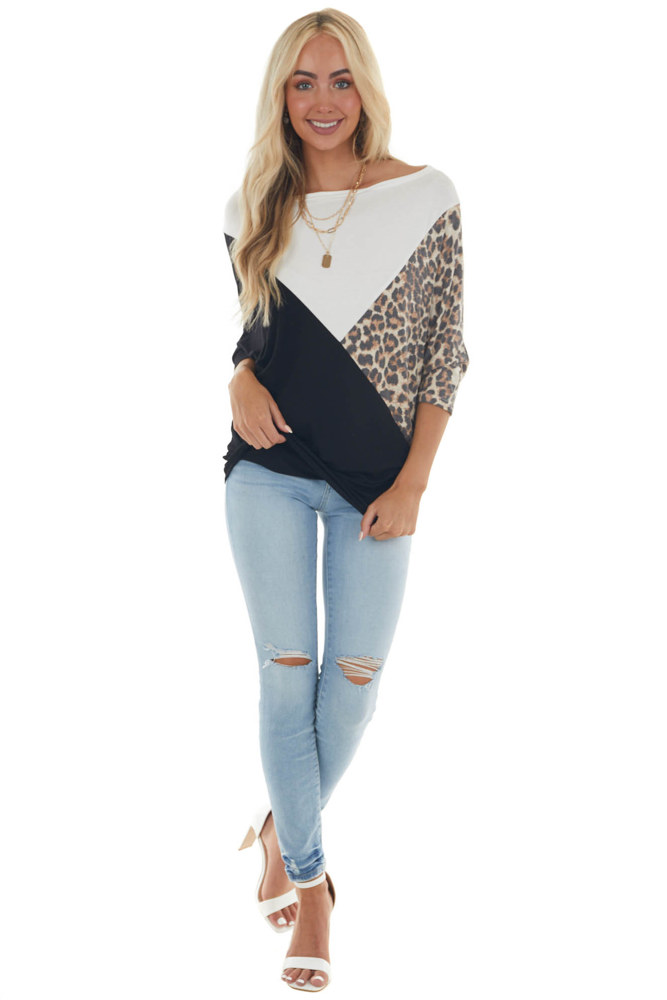 White and Leopard Colorblock Dolman Sleeve Top