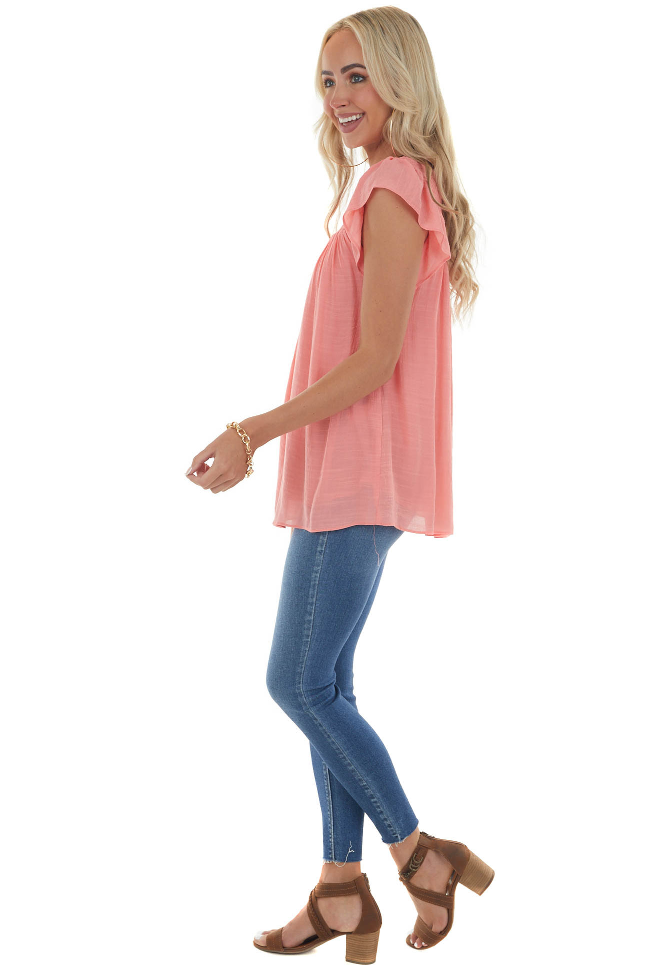 Coral Smocked Cap Sleeve Woven Blouse