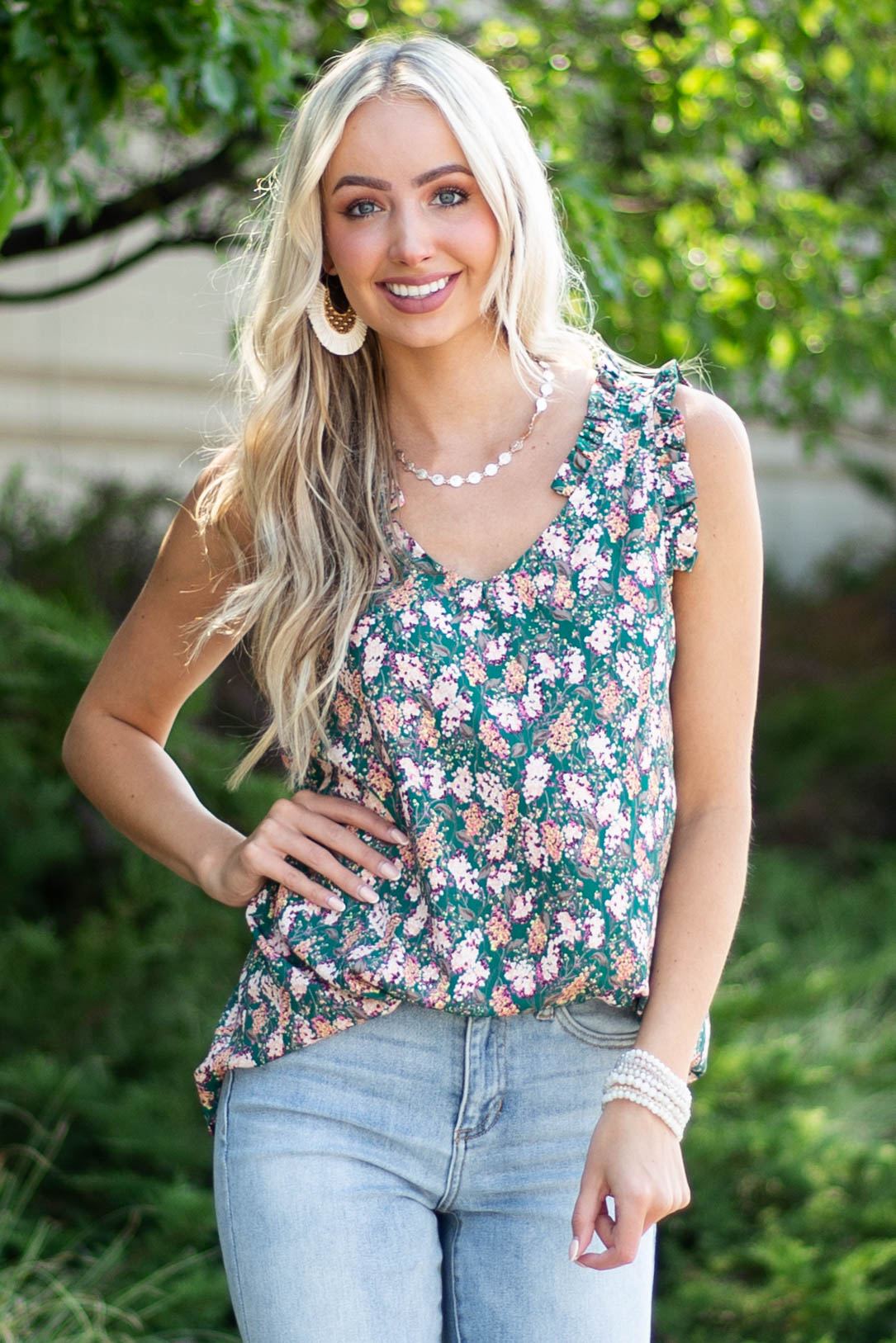 Forest Green Floral Ruffle Strap V Neck Blouse