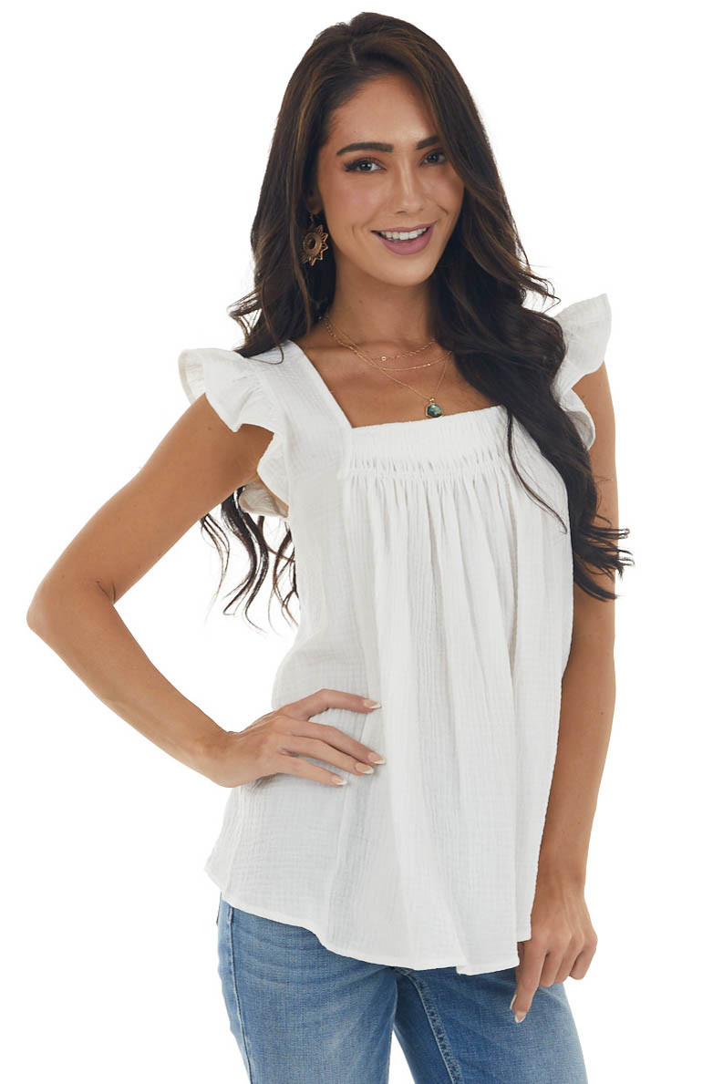 Ivory Textured Square Neck Ruffle Strap Top