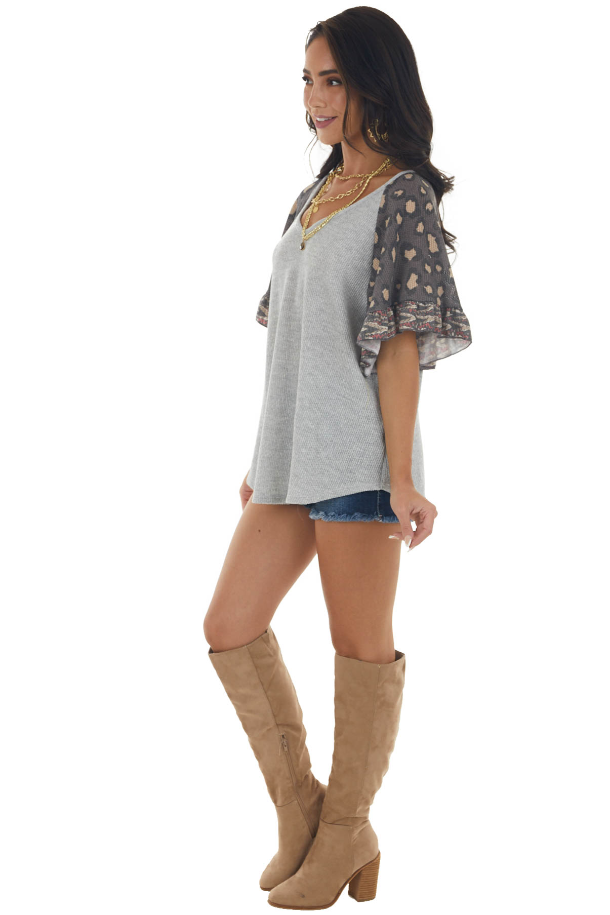 Silver and Animal Print Flutter Sleeve Top