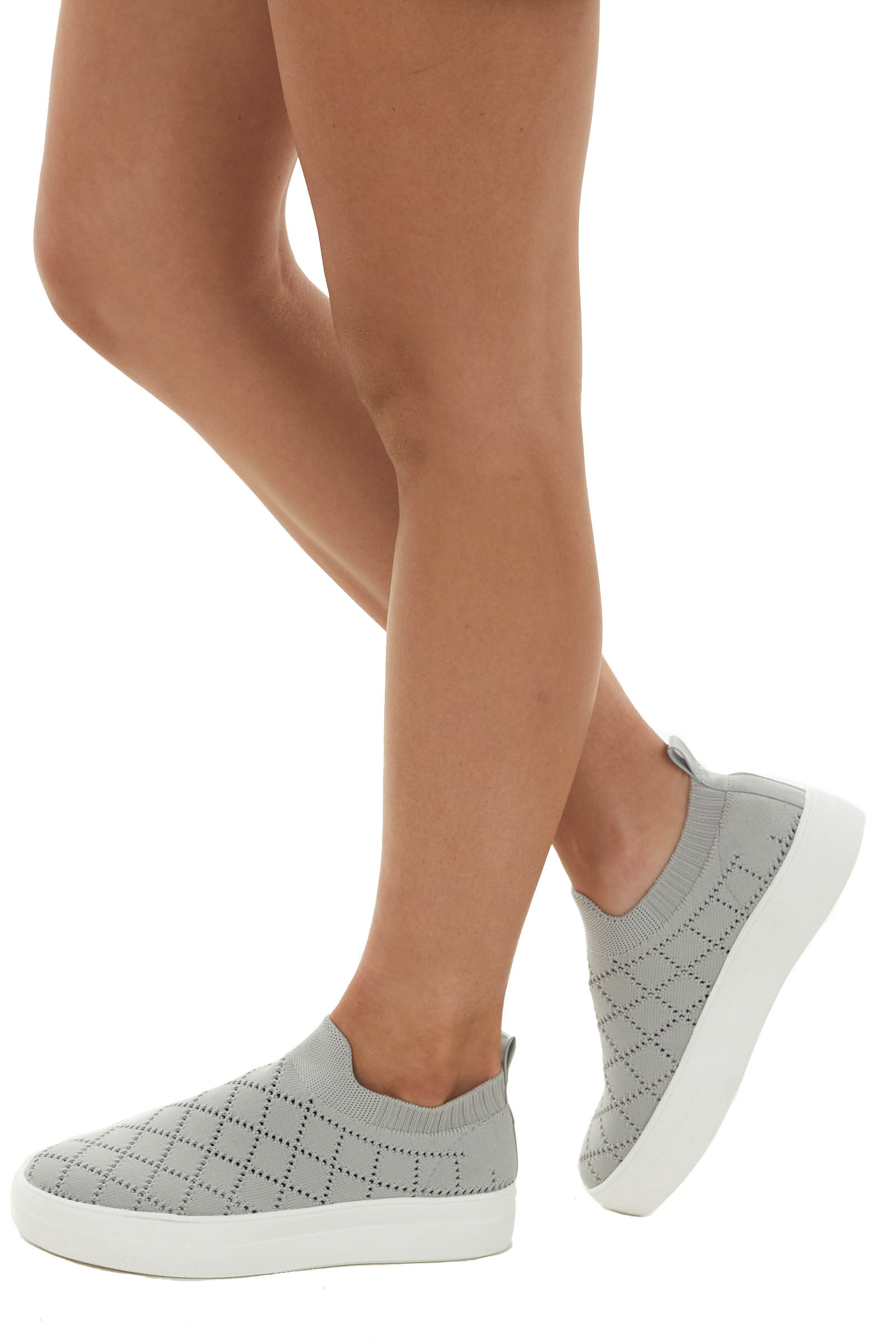 Dove Grey Knit Casual Slip On Sneakers