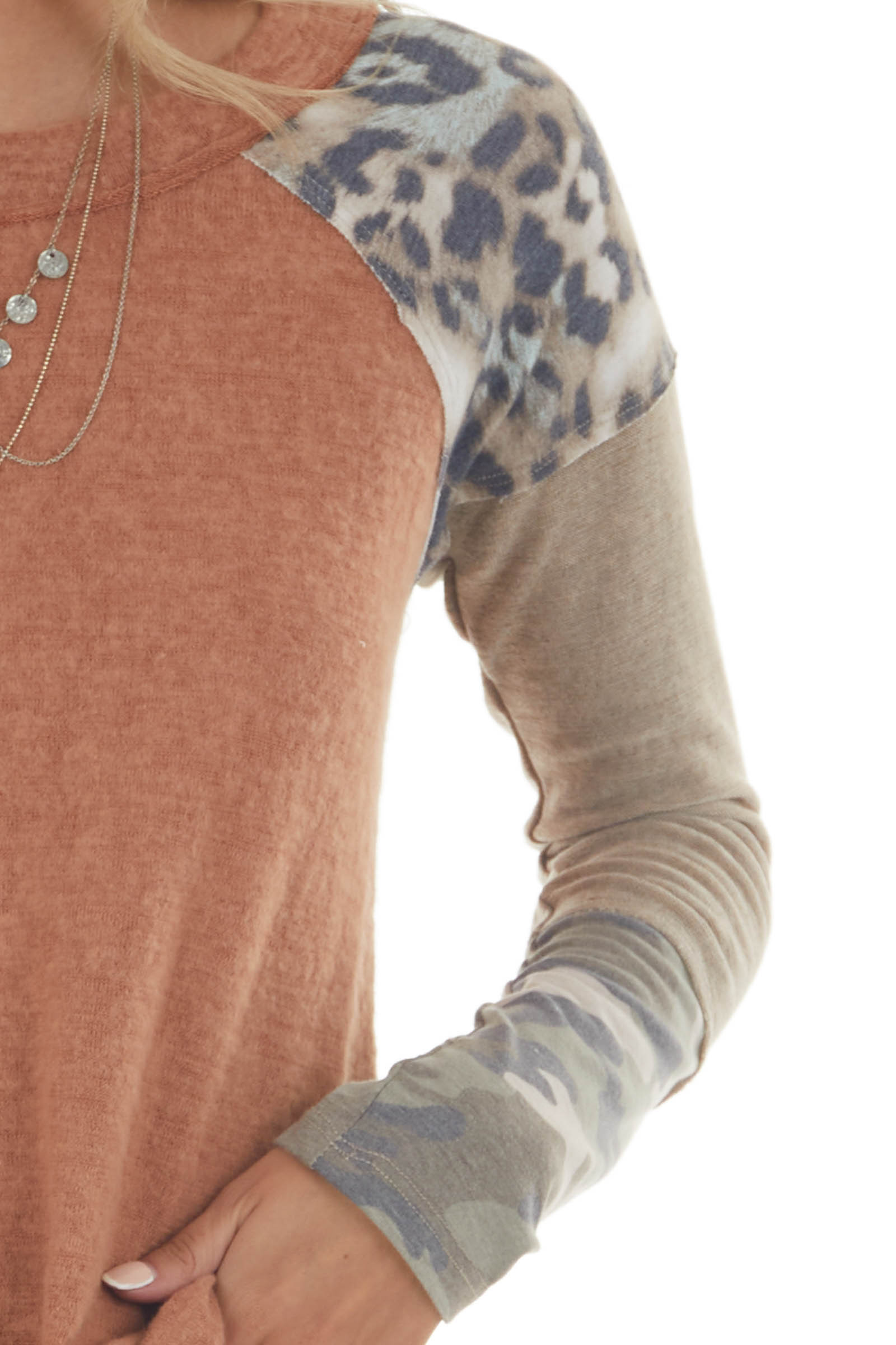 Cognac Multiprint Contrast Long Sleeve Top with Raw Details