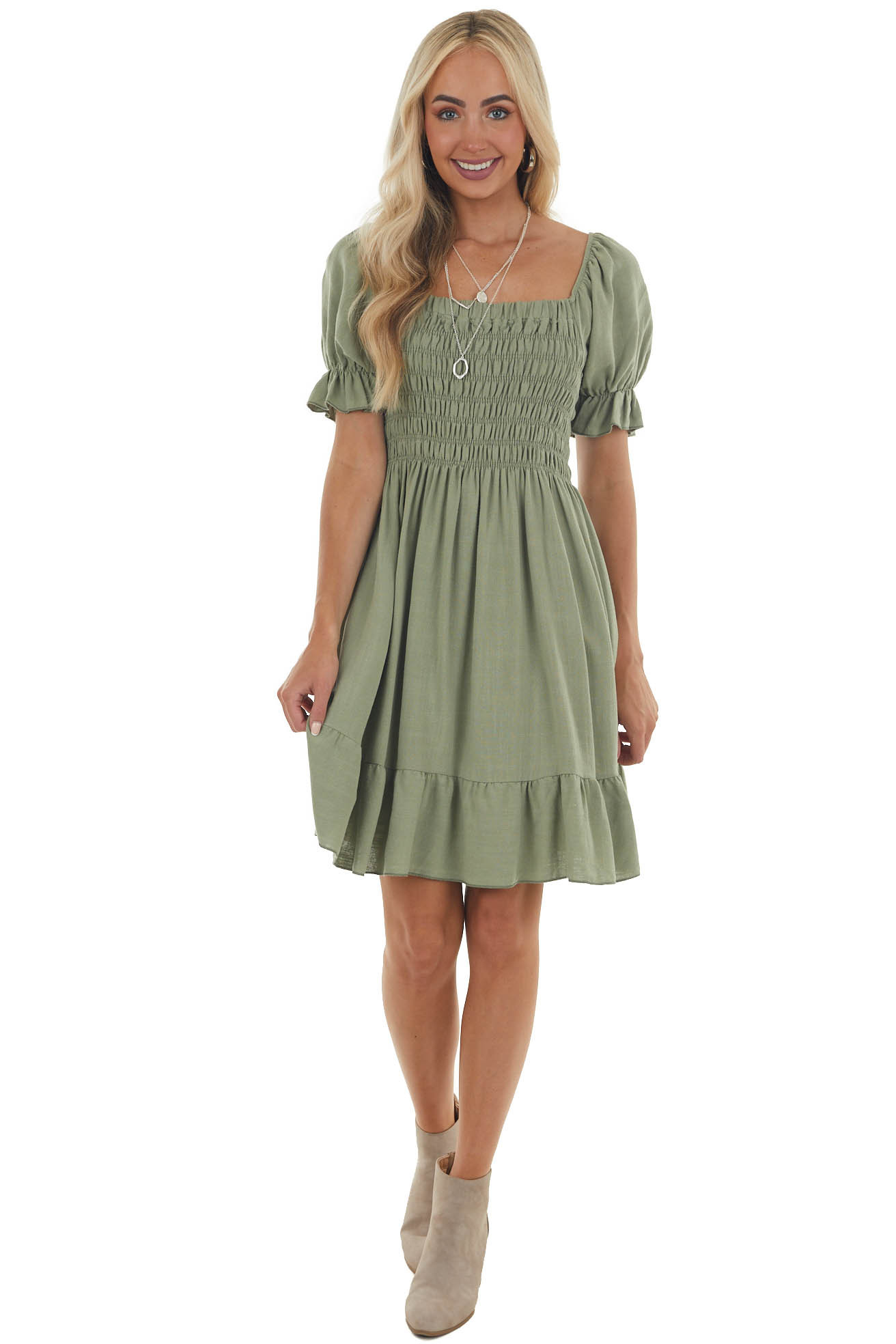 Sage Smocked Short Dress with Bubble Sleeves