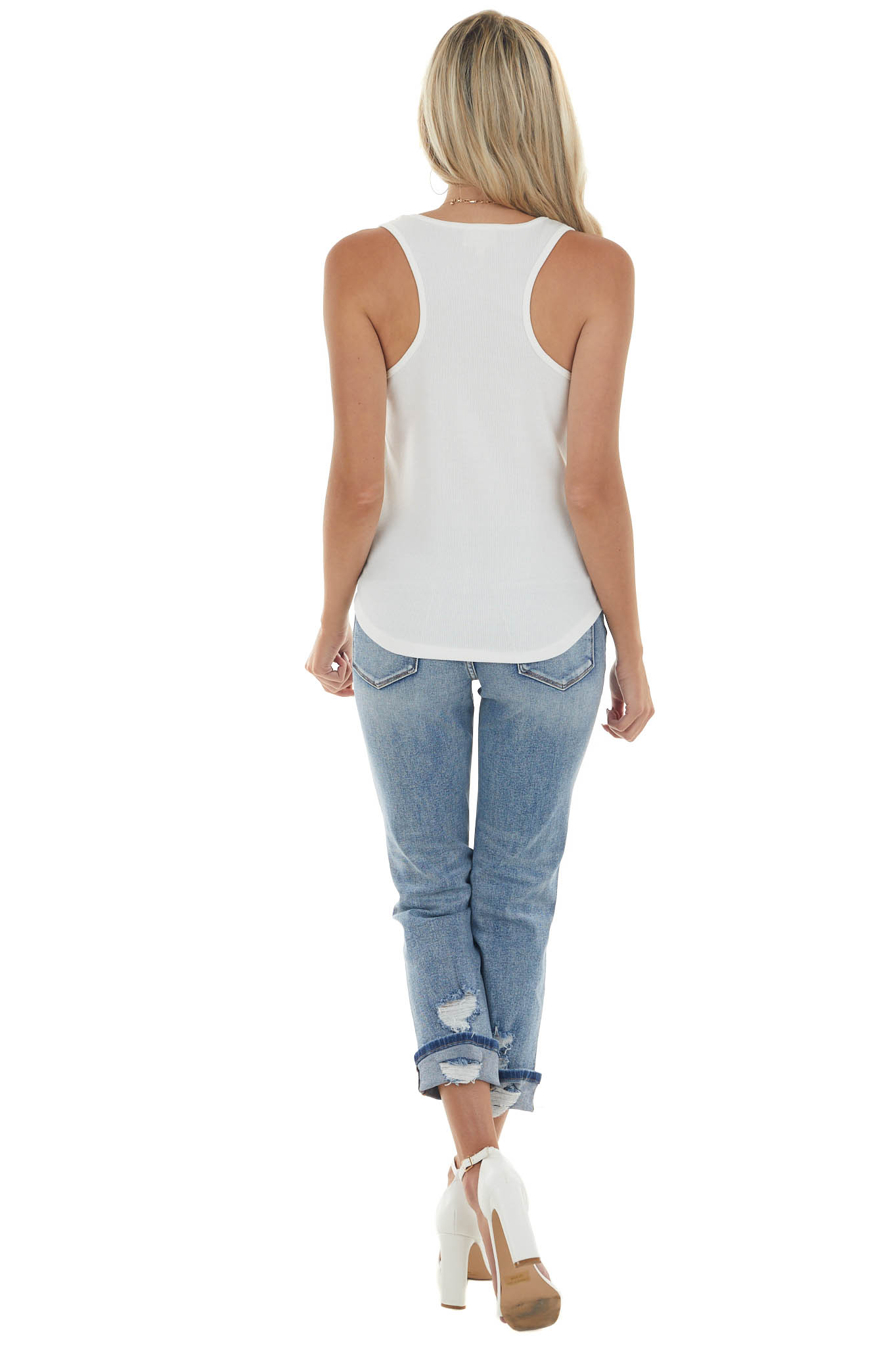 Ivory Ribbed Scoop Neck Thread Patch Tank Top