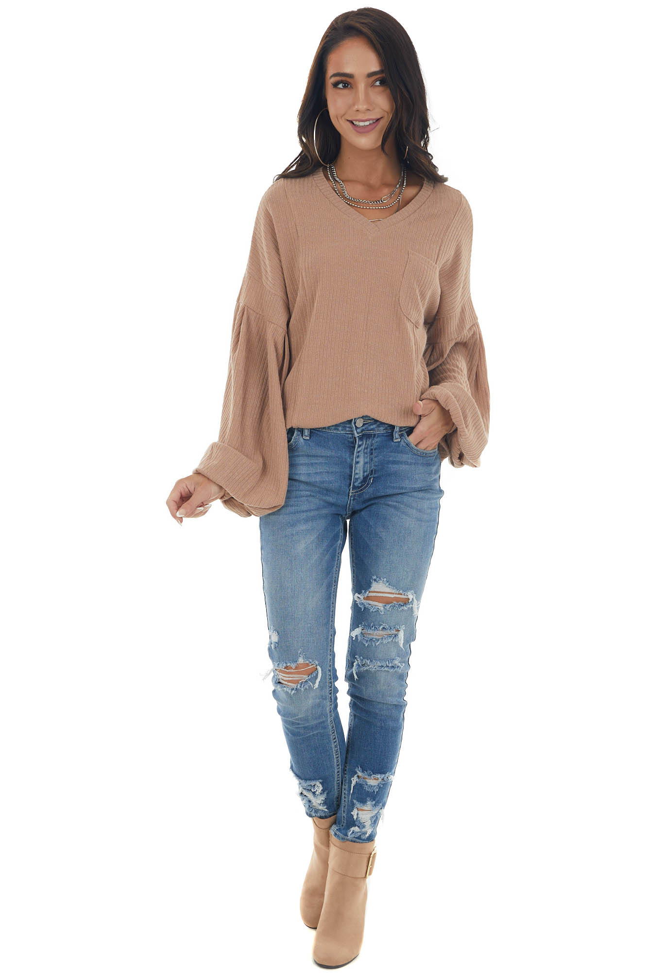 Copper Long Bubble Sleeve Ribbed Knit Top