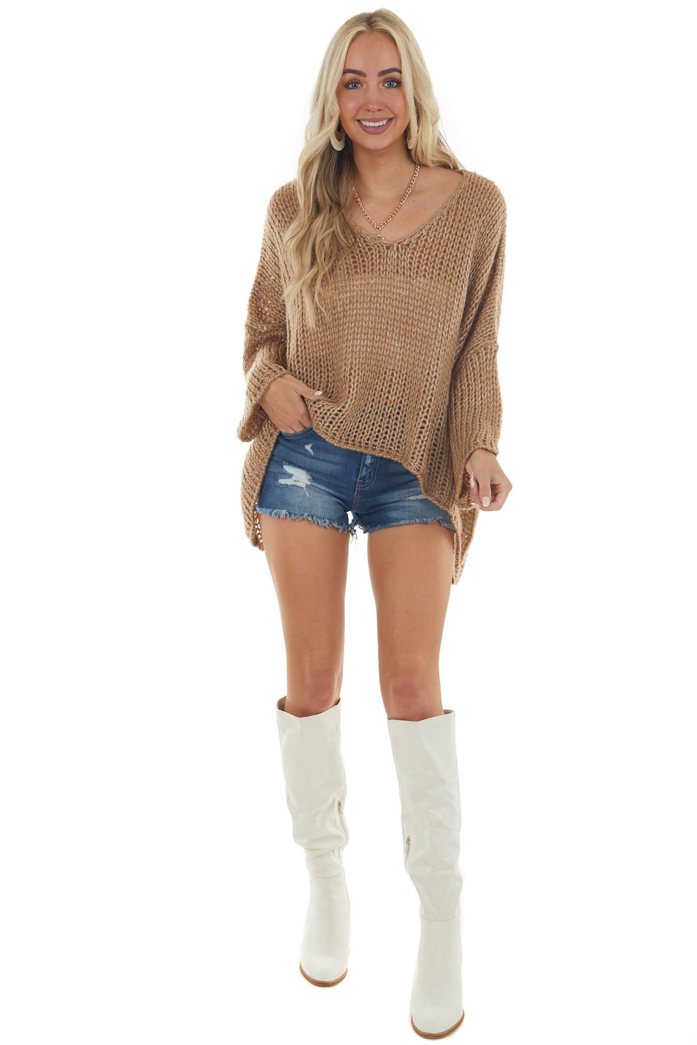 Peanut Oversized High Low Pullover Sweater