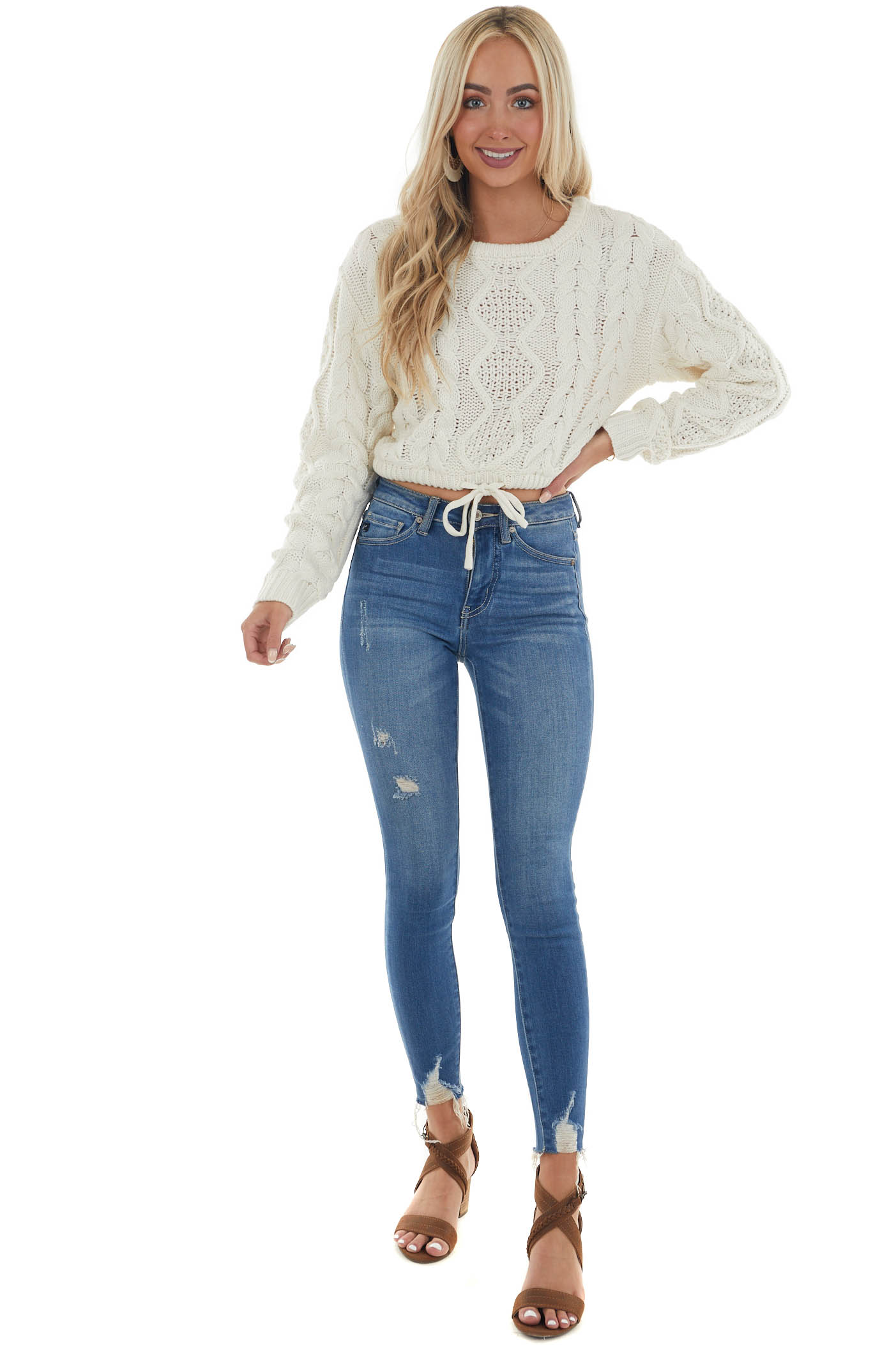 Cream Drawstring Cropped Cable Knit Sweater
