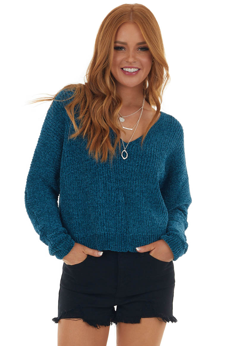 Cerulean Soft Chenille Long Sleeve Sweater