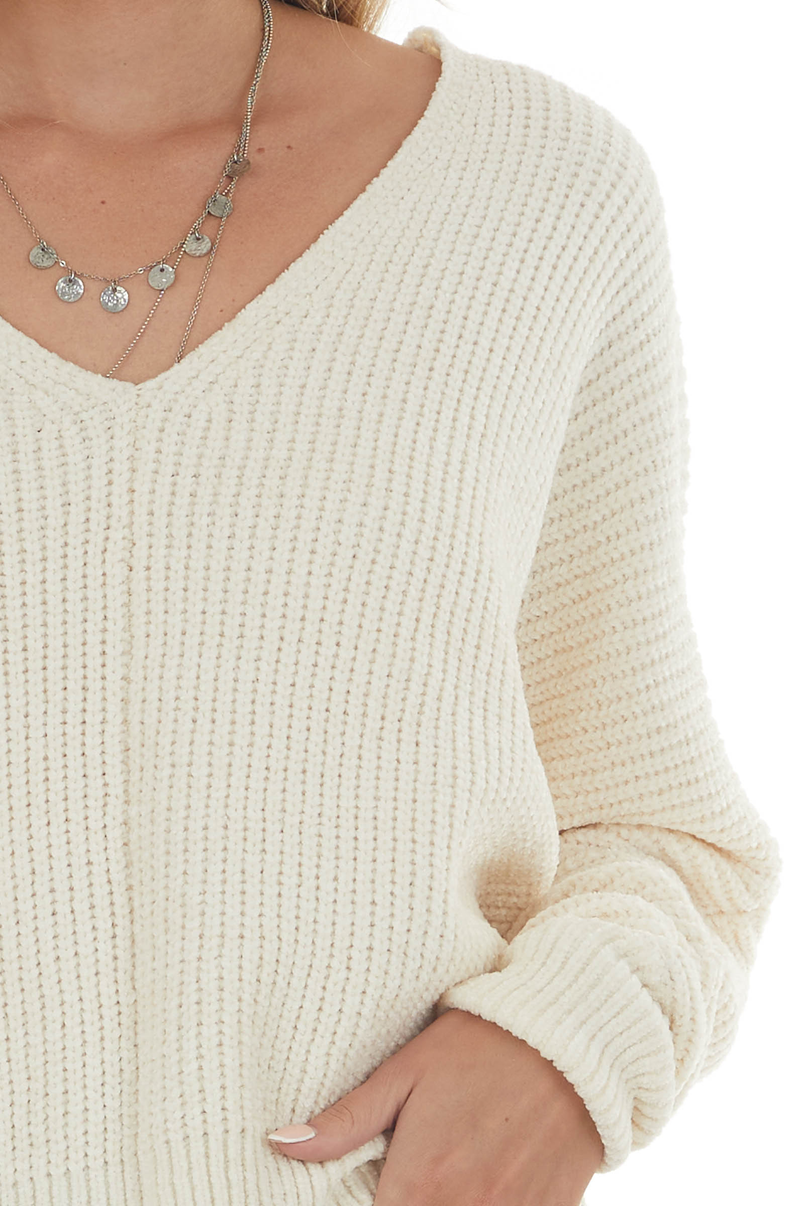 Cream Soft Chenille Long Sleeve Knit Sweater