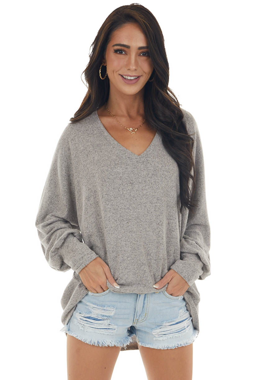 Taupe Long Sleeve Oversized Soft Knit Top