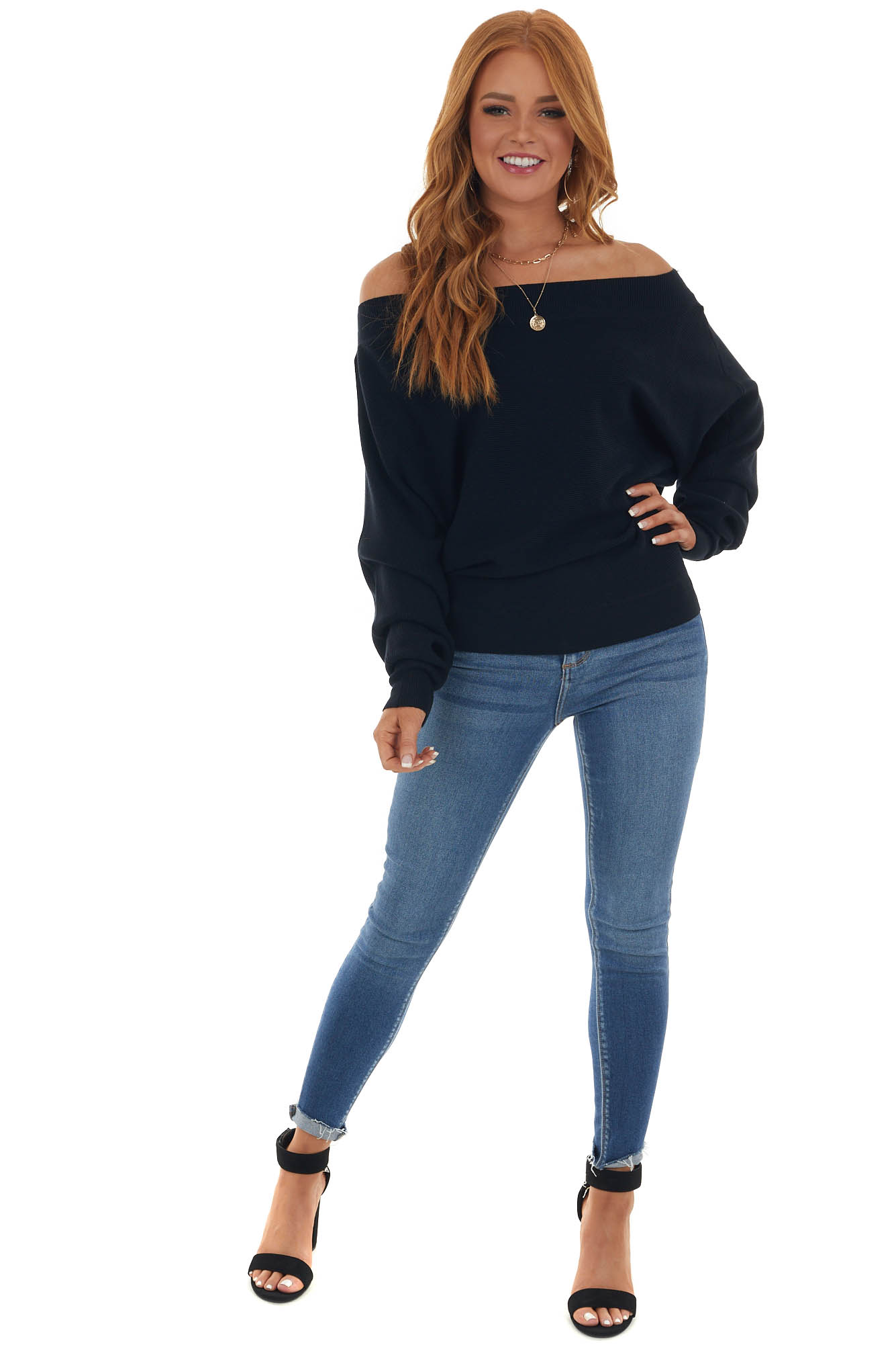 Black Boat Neck Ribbed Knit Sweater