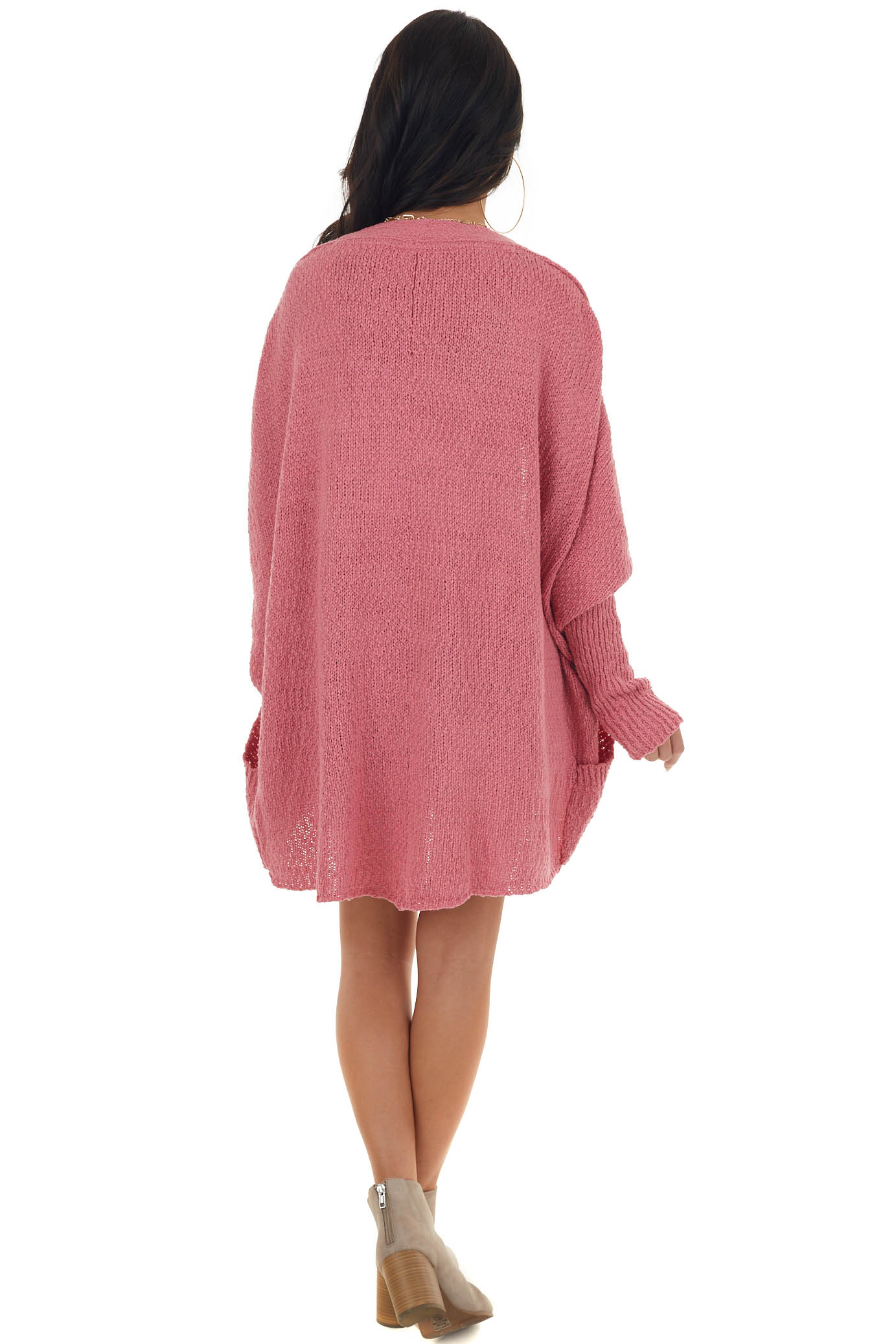 Punch Open Front Cardigan with Long Dolman Sleeves