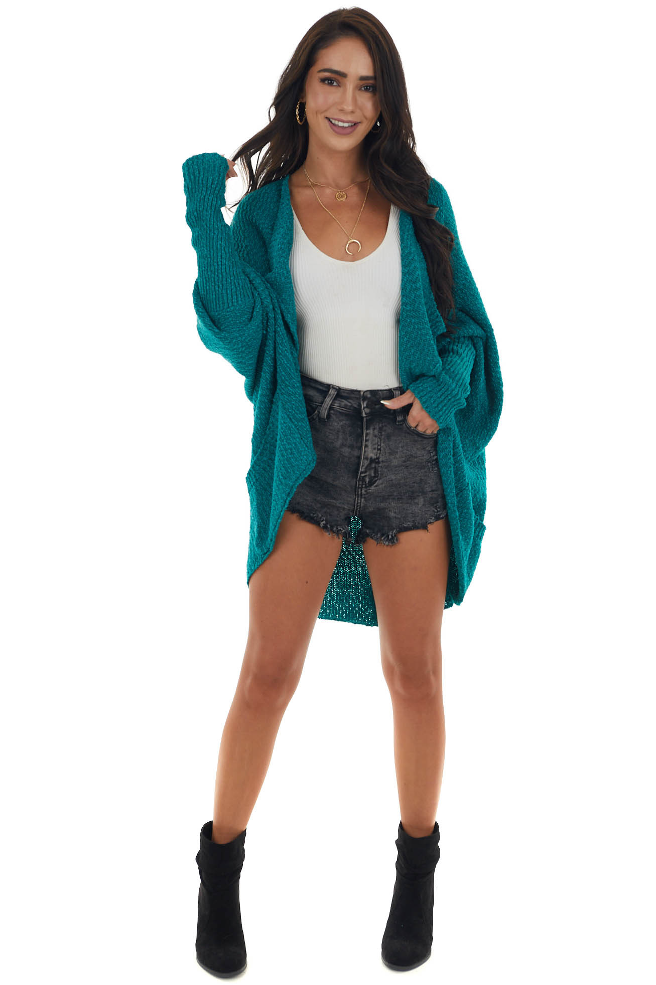 Mineral Green Open Front Cardigan with Long Dolman Sleeves