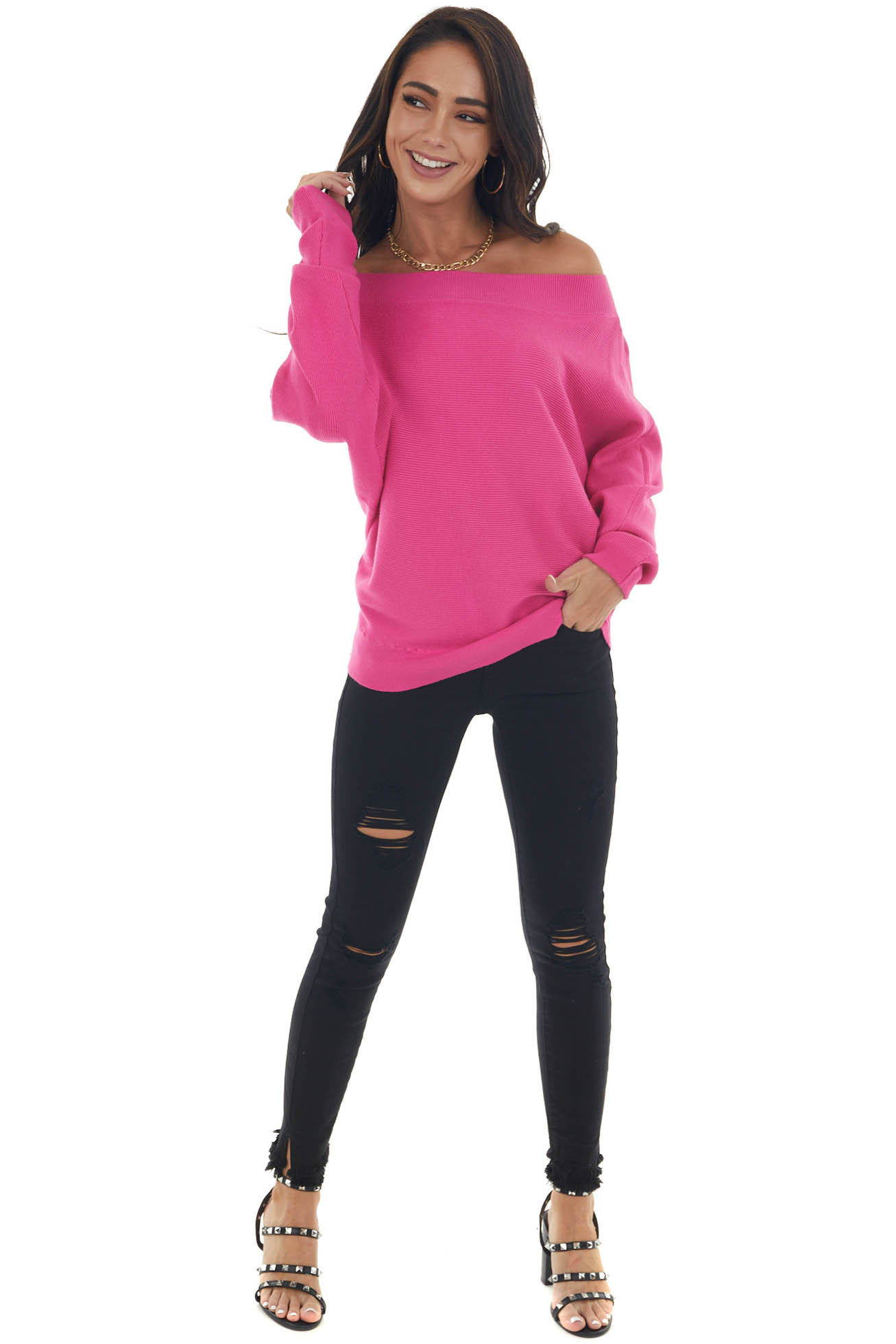 Magenta Boat Neck Ribbed Knit Sweater