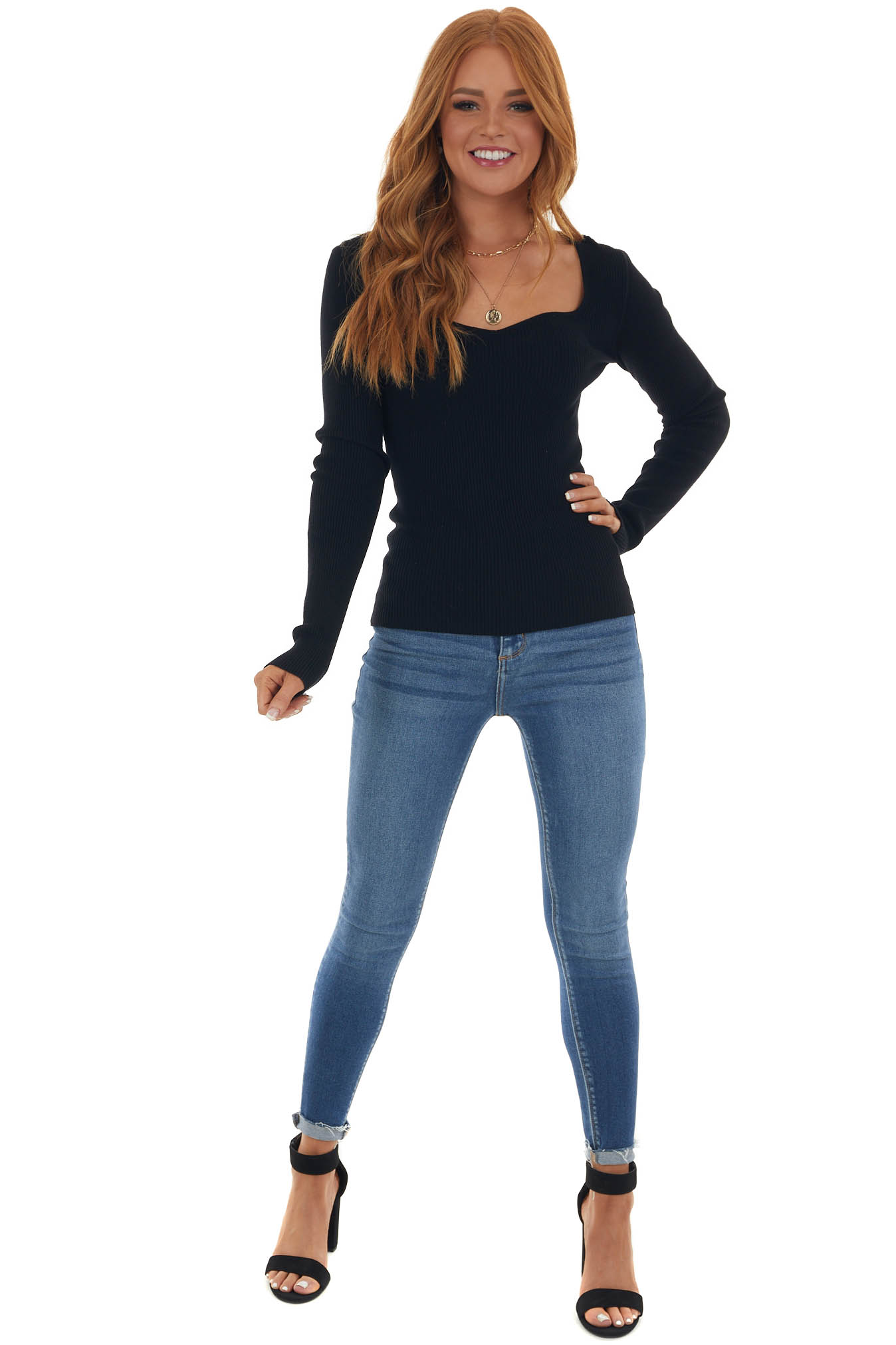 Black Fitted Sweetheart Ribbed Knit Sweater