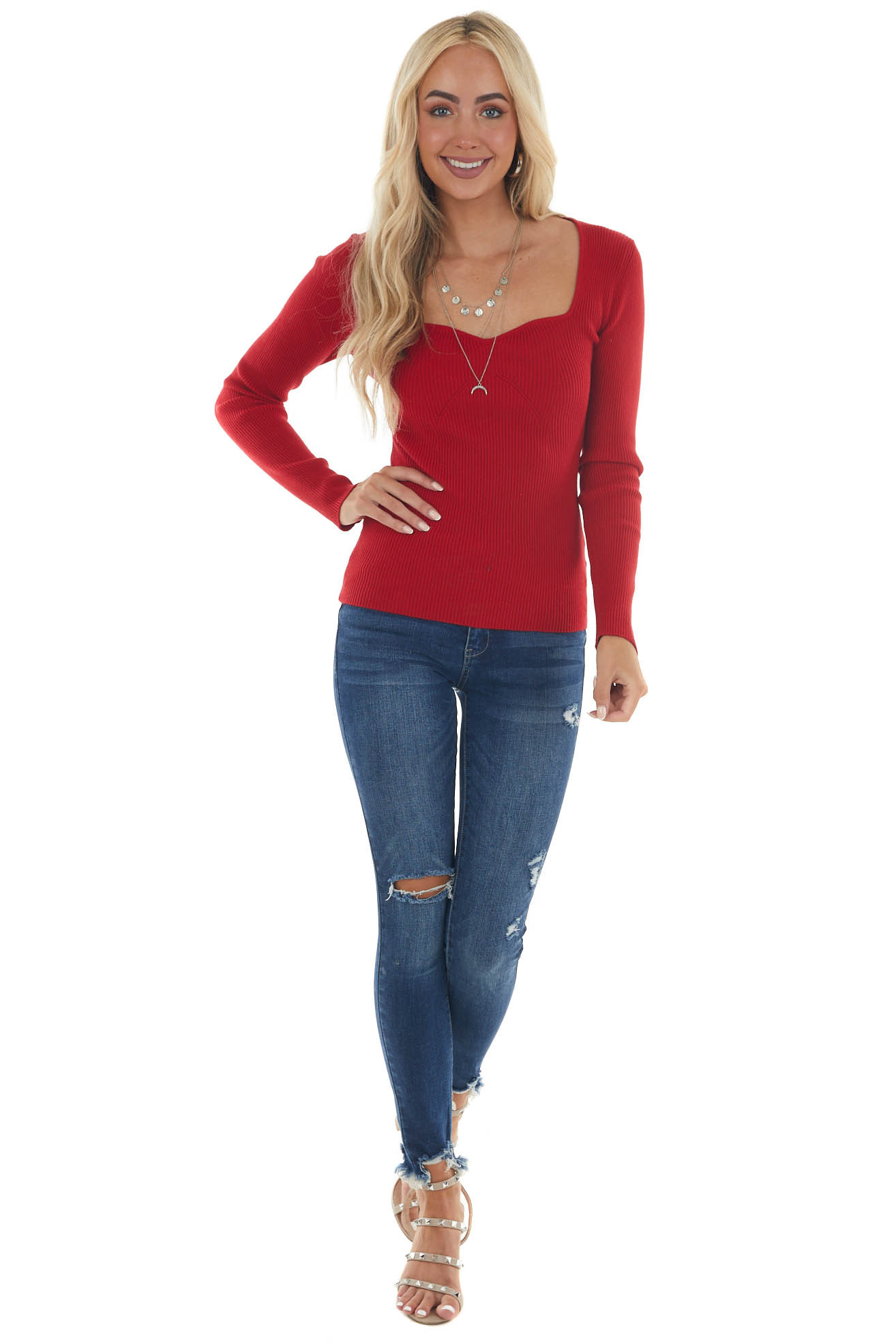 Cherry Fitted Sweetheart Ribbed Knit Sweater