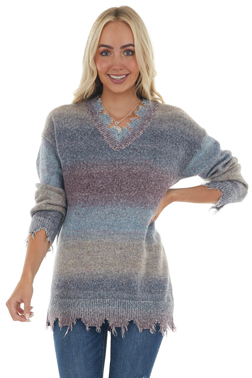 Dusty Blue Gradient Distressed Sweater