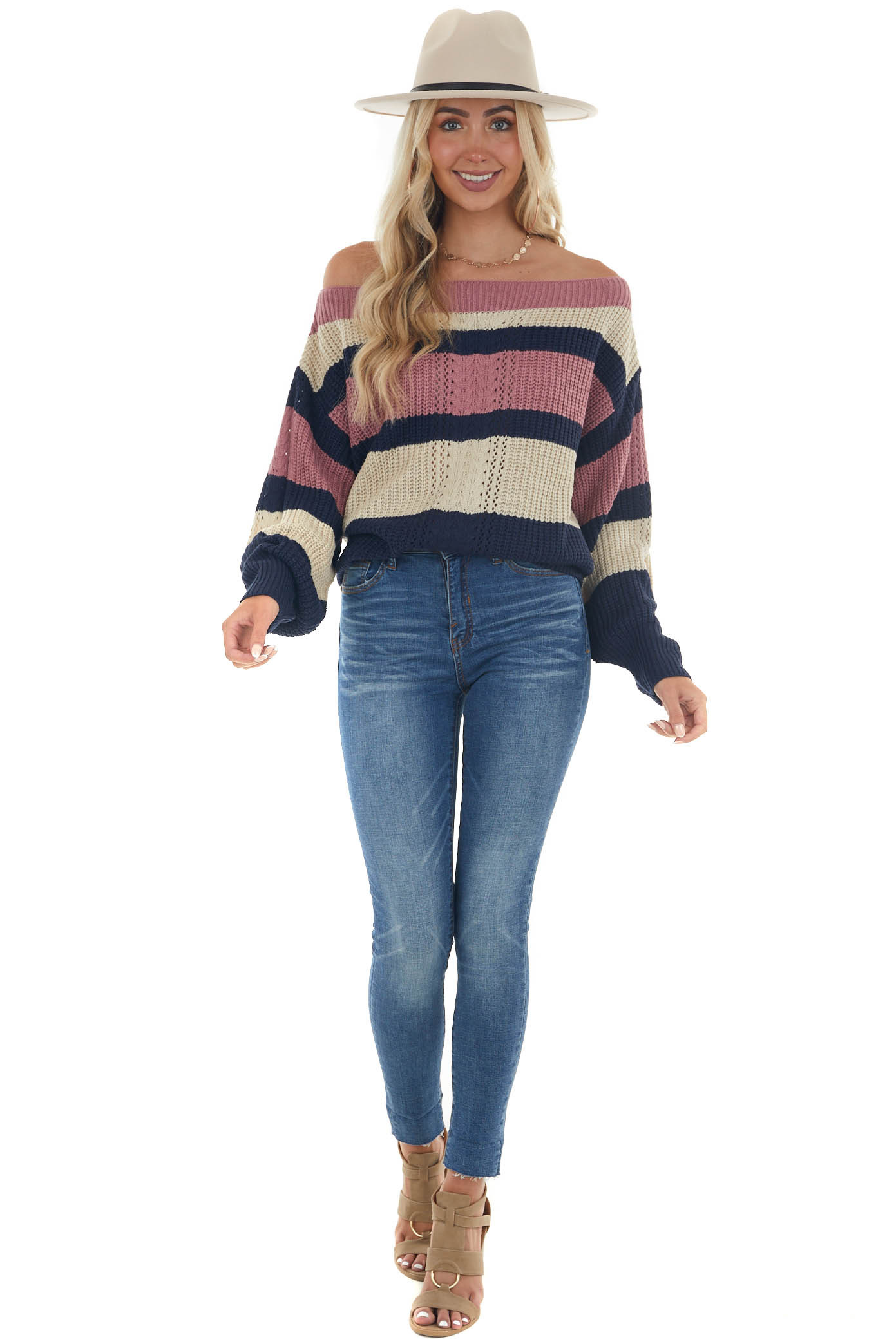 Navy Striped Boat Neck Ribbed Knit Sweater