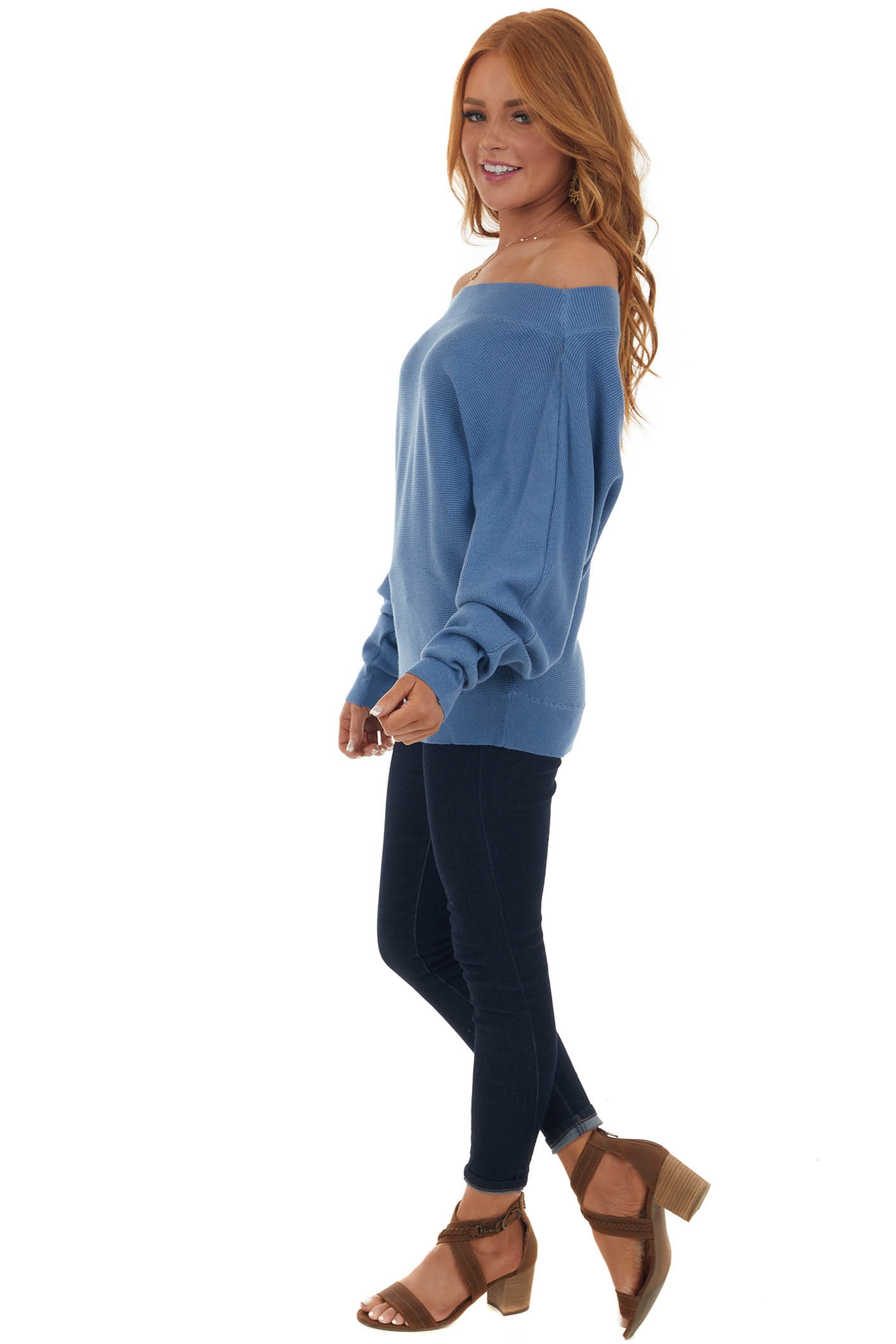 Steel Blue Boat Neck Ribbed Knit Sweater