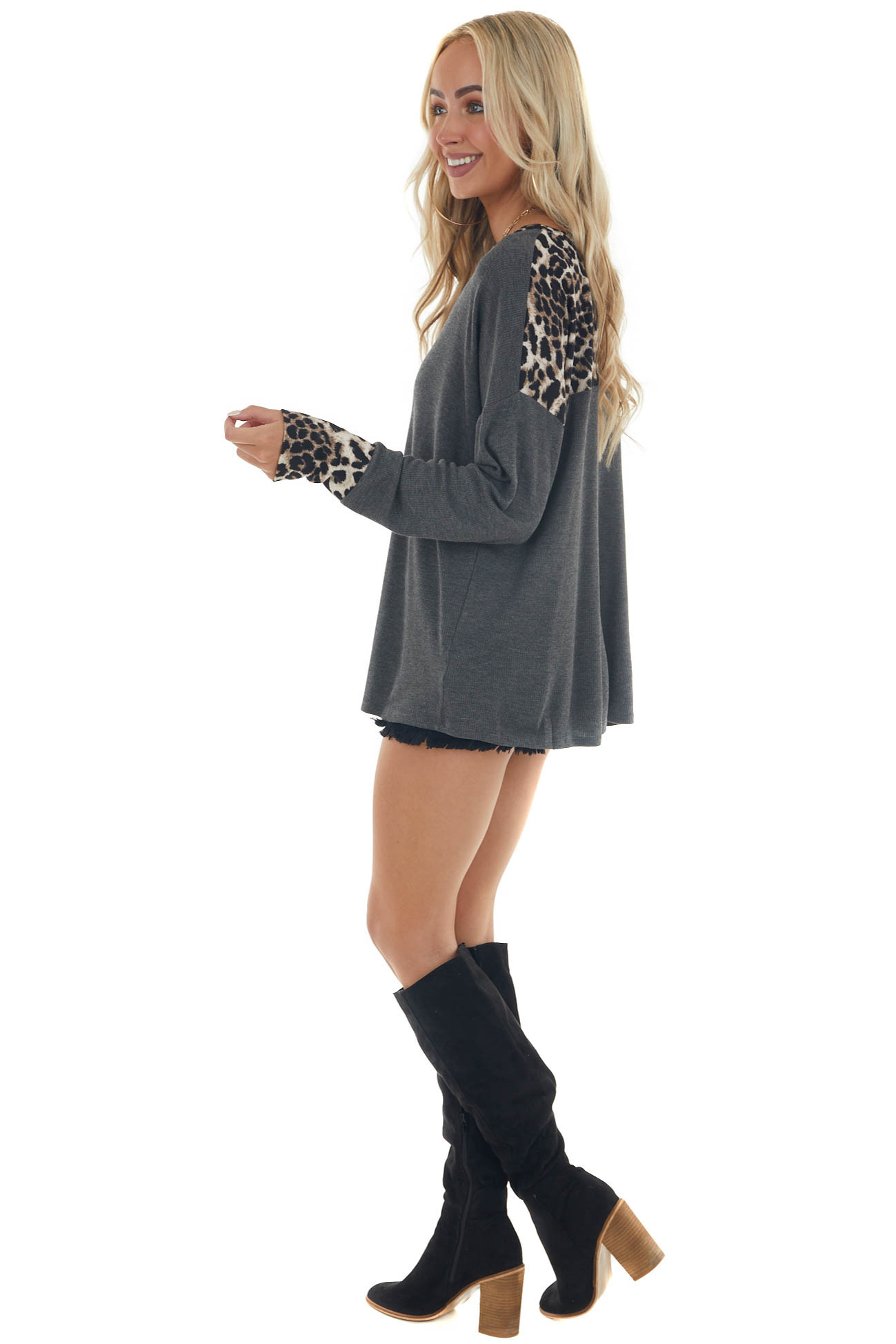 Graphite and Leopard Contrast Thermal Knit Top