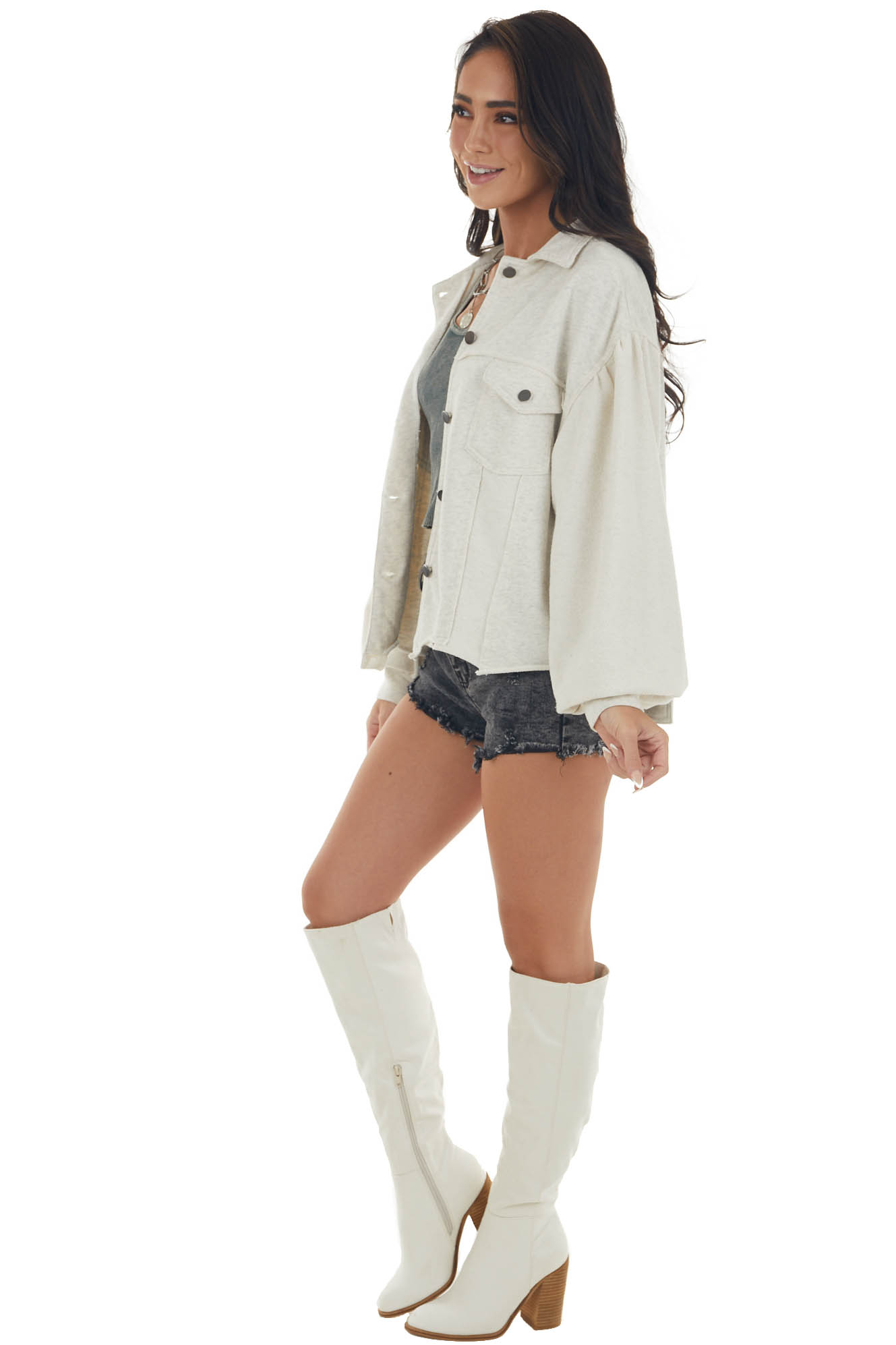 Champagne Button Up French Terry Shirt Jacket
