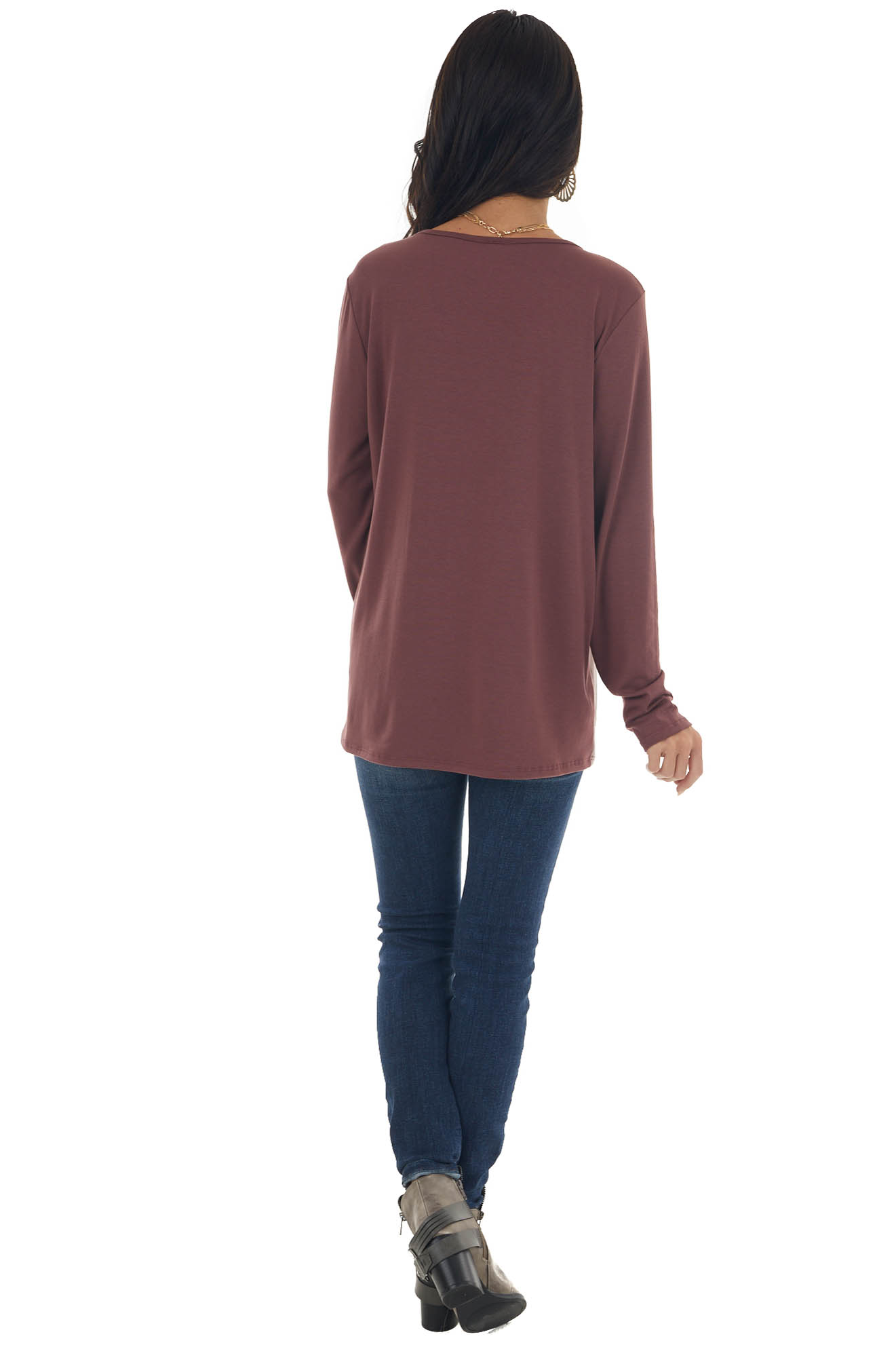Sienna Long Sleeve Knit Top with Leopard Print