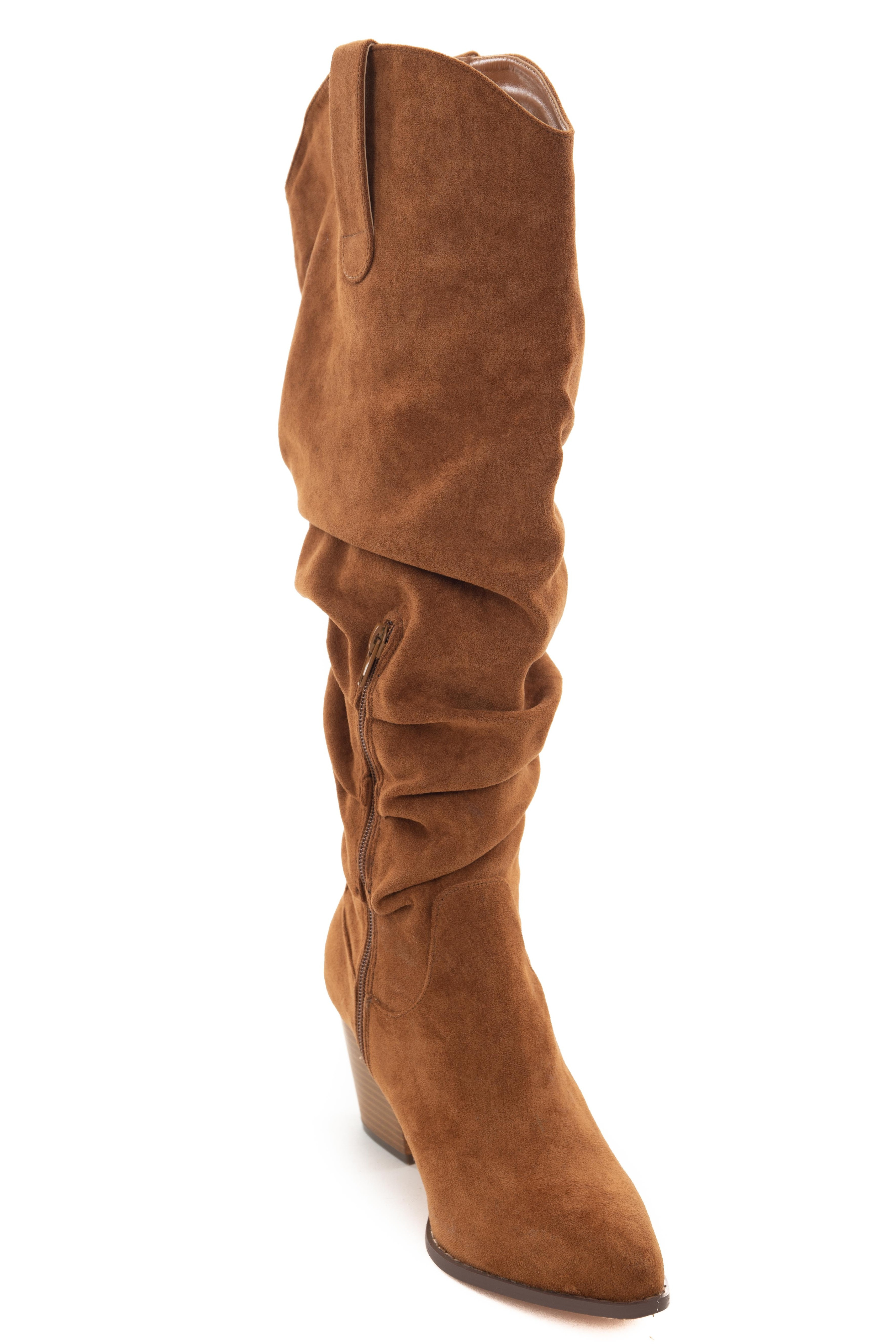 Cognac Pointed Toe Knee High Slouch Boots