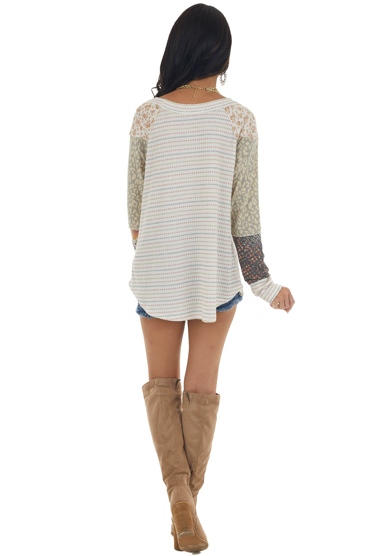 Off White Multiprint Long Sleeve Knit Top