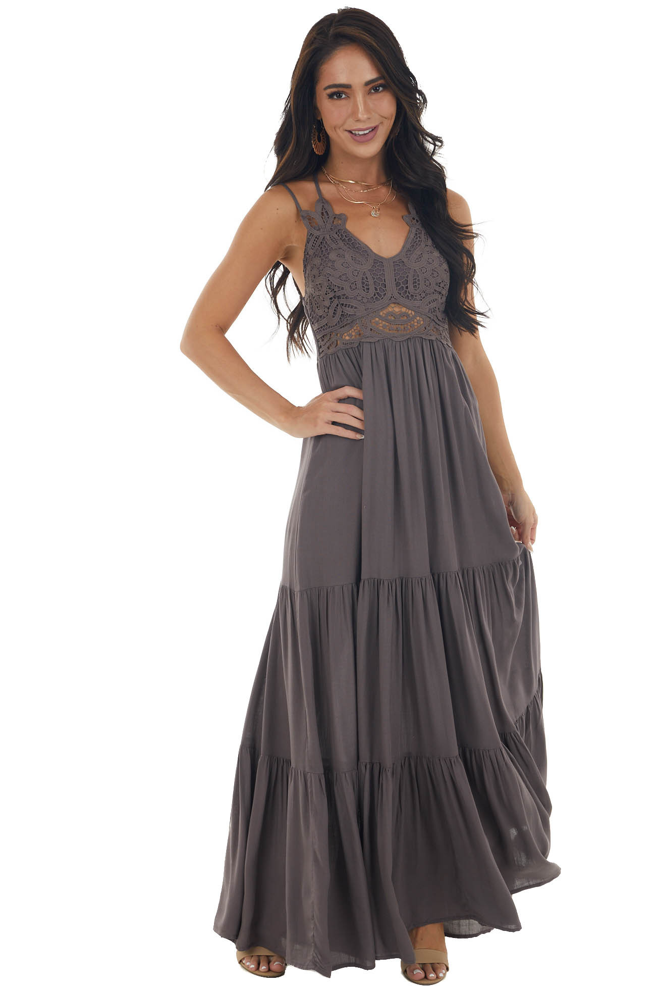 Charcoal Smocked Crotchet Lace Tiered Maxi Dress