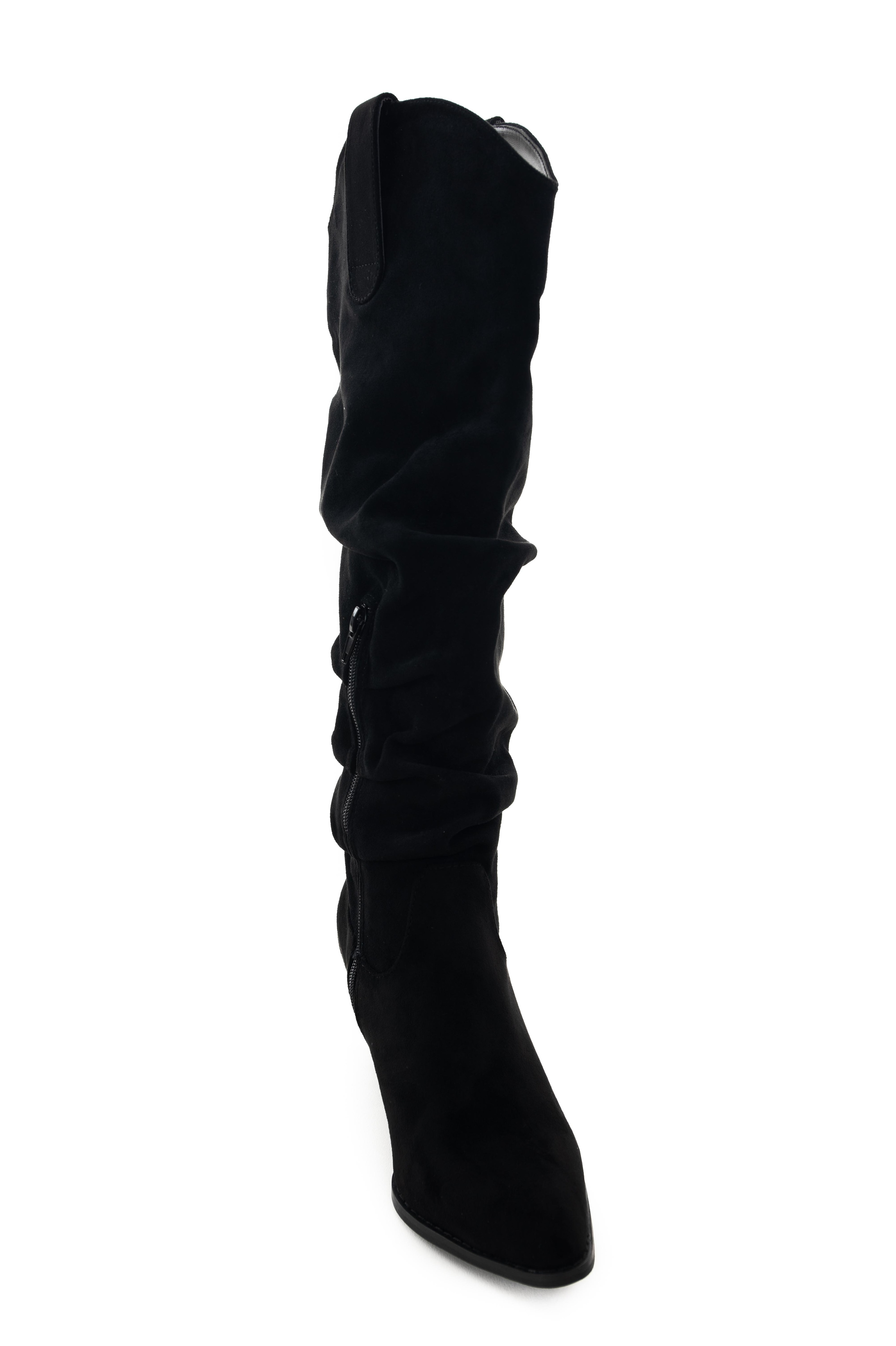Black Pointed Toe Knee High Slouch Boots