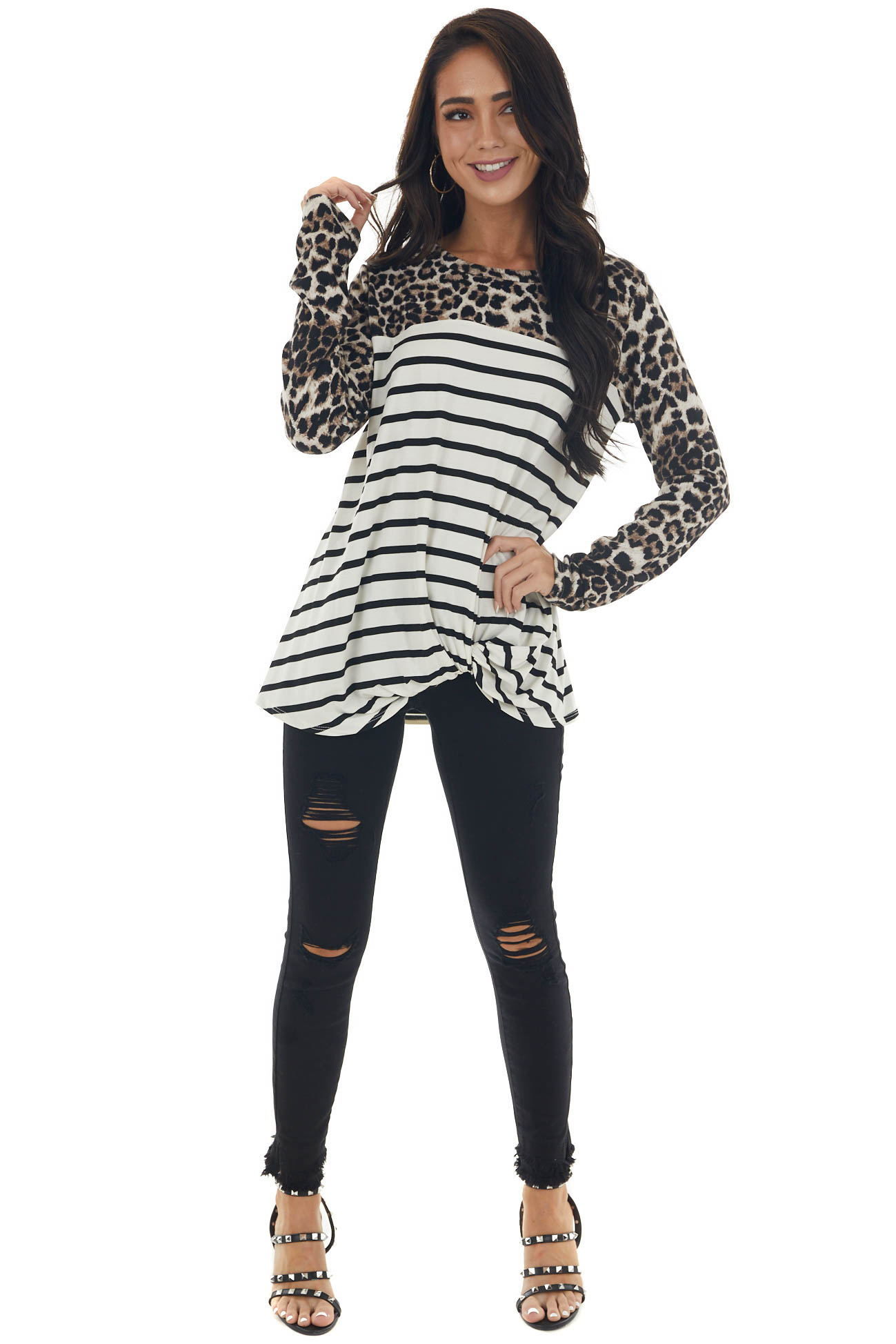 Ivory Striped and Leopard Front Knot Knit Top