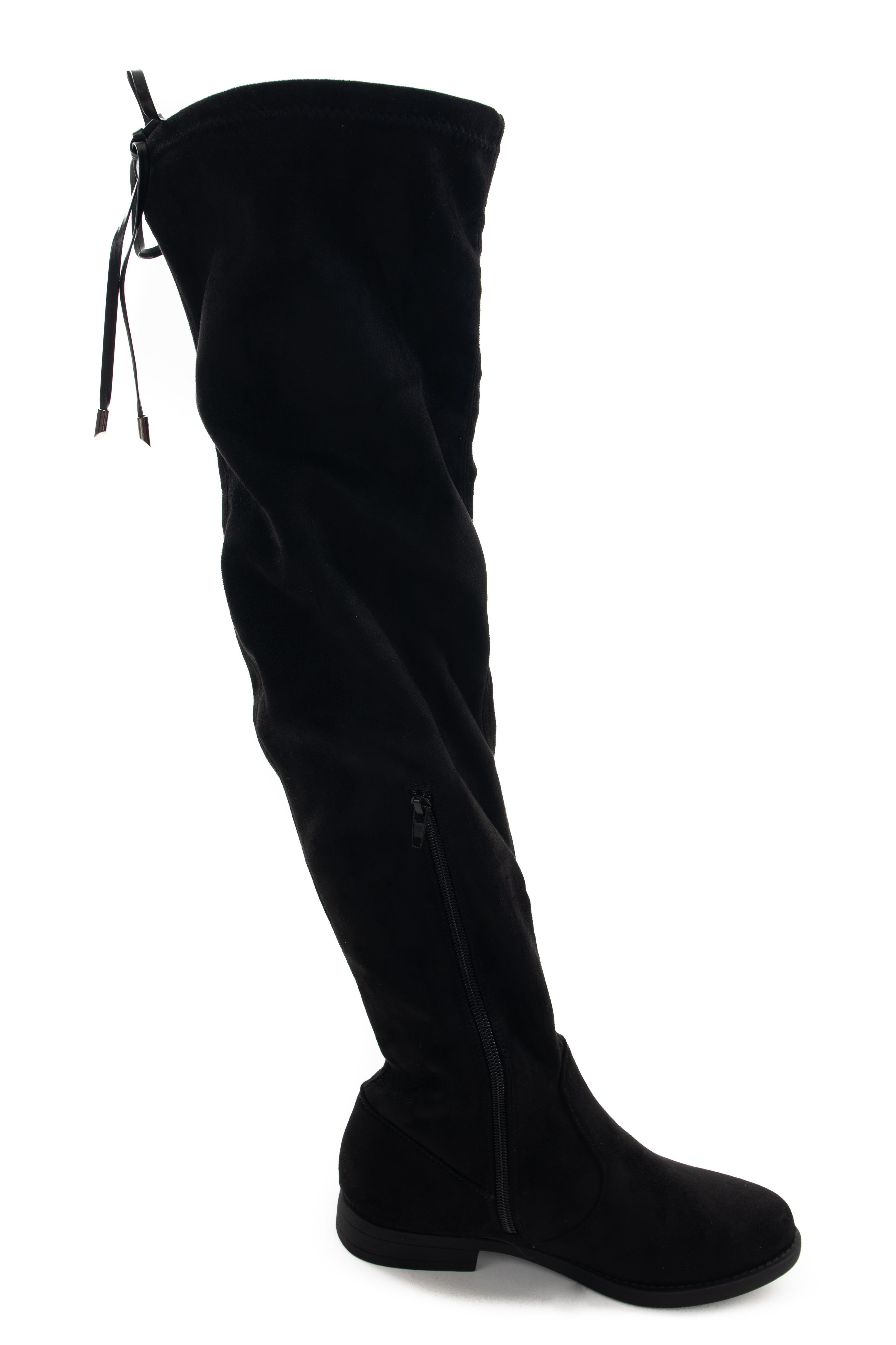Black Thigh High Boots with Drawstring Detail