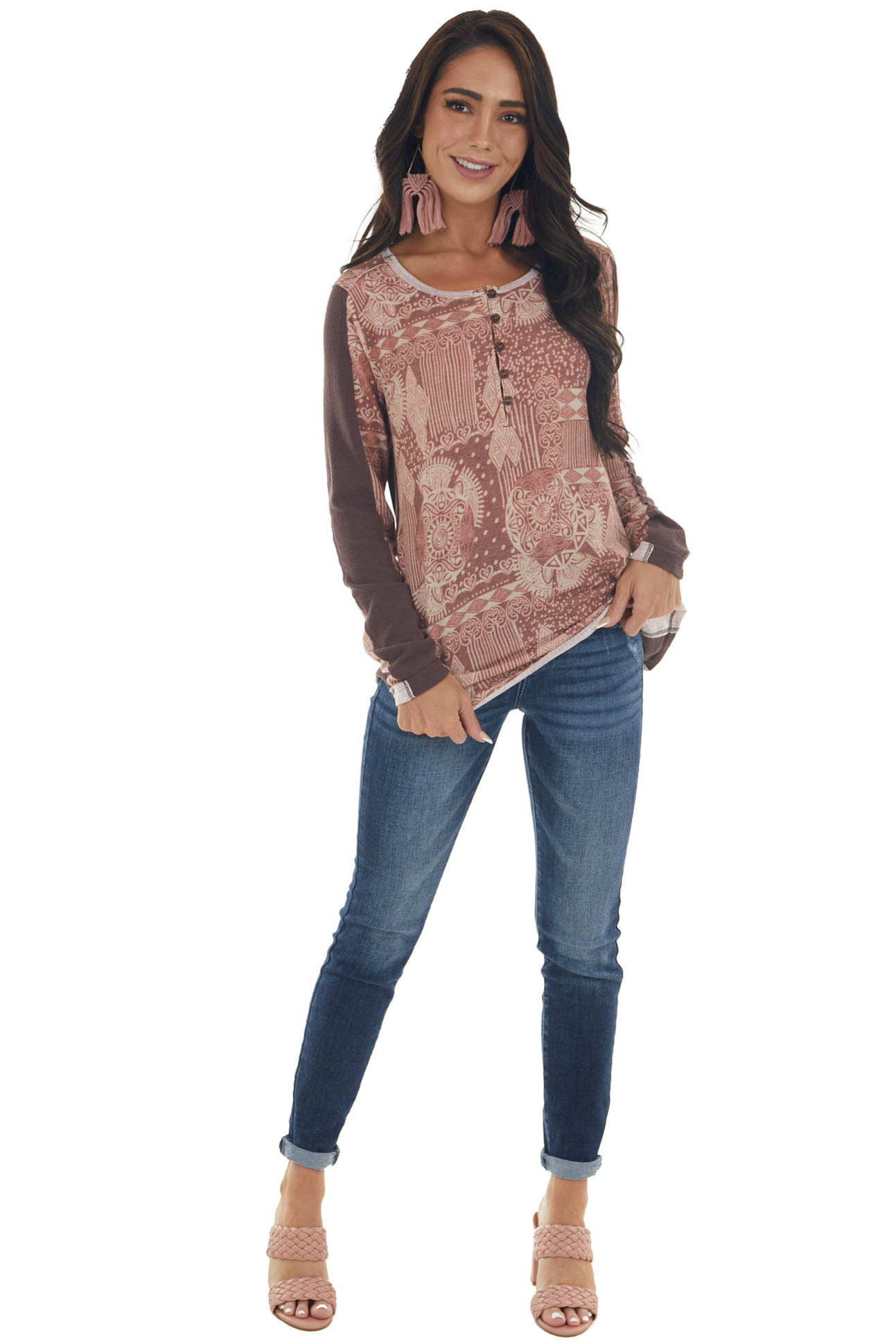 Rose Taupe Printed Long Sleeve Henley Top