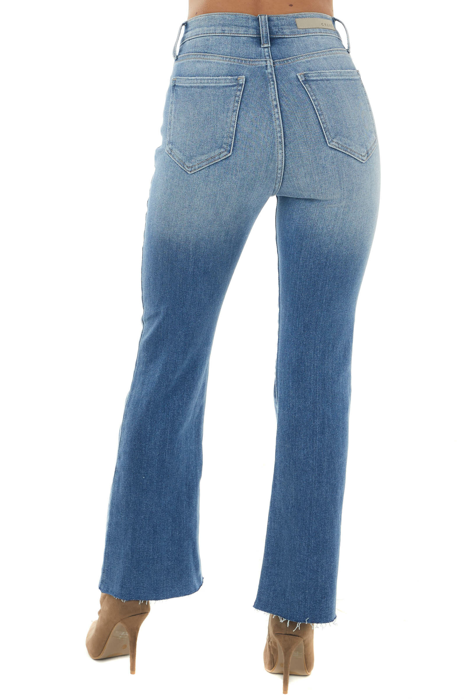 Medium Wash High Rise Cropped Flare Jeans
