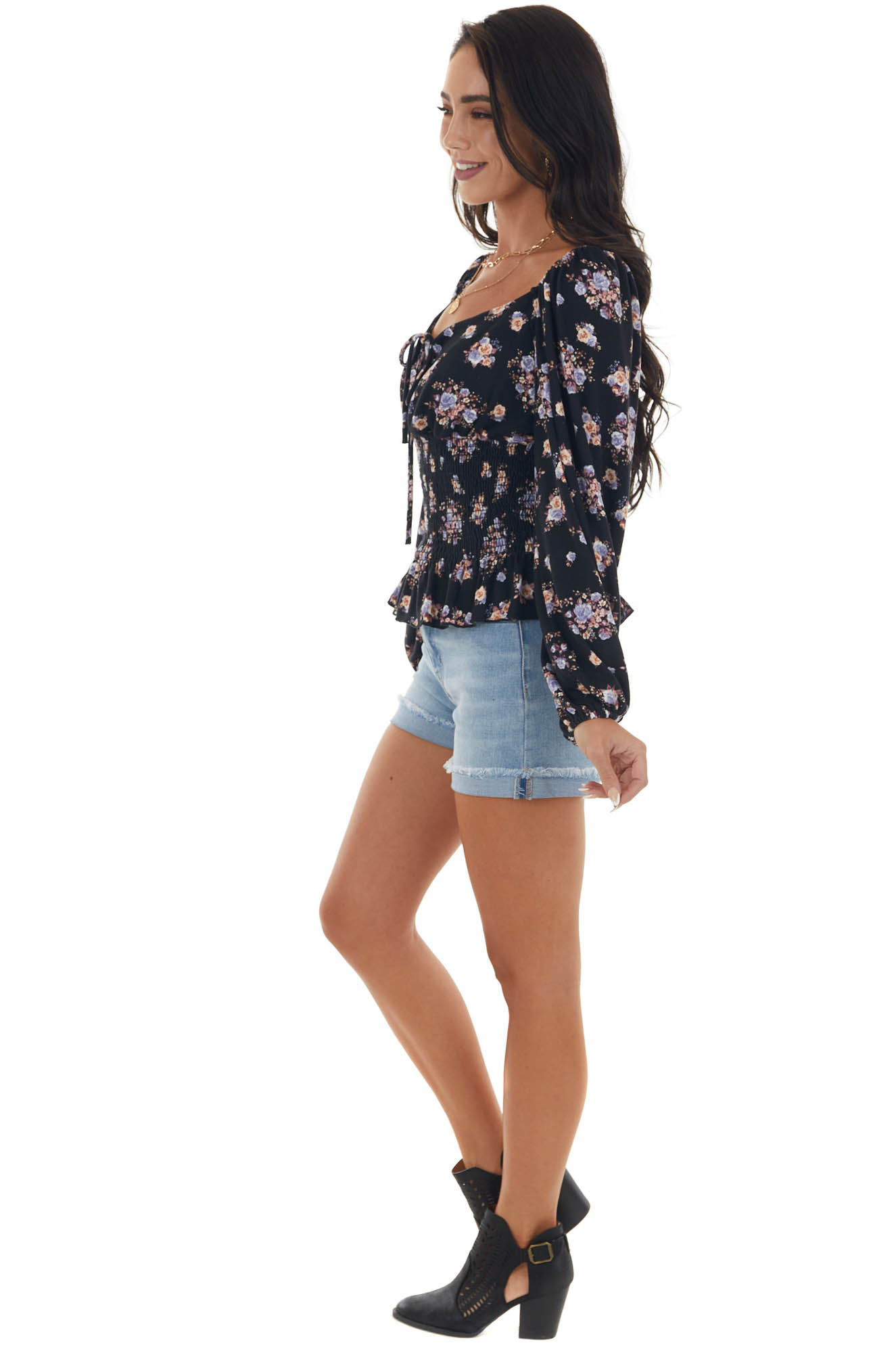Black Floral Print Smocked Knit Top with Tie