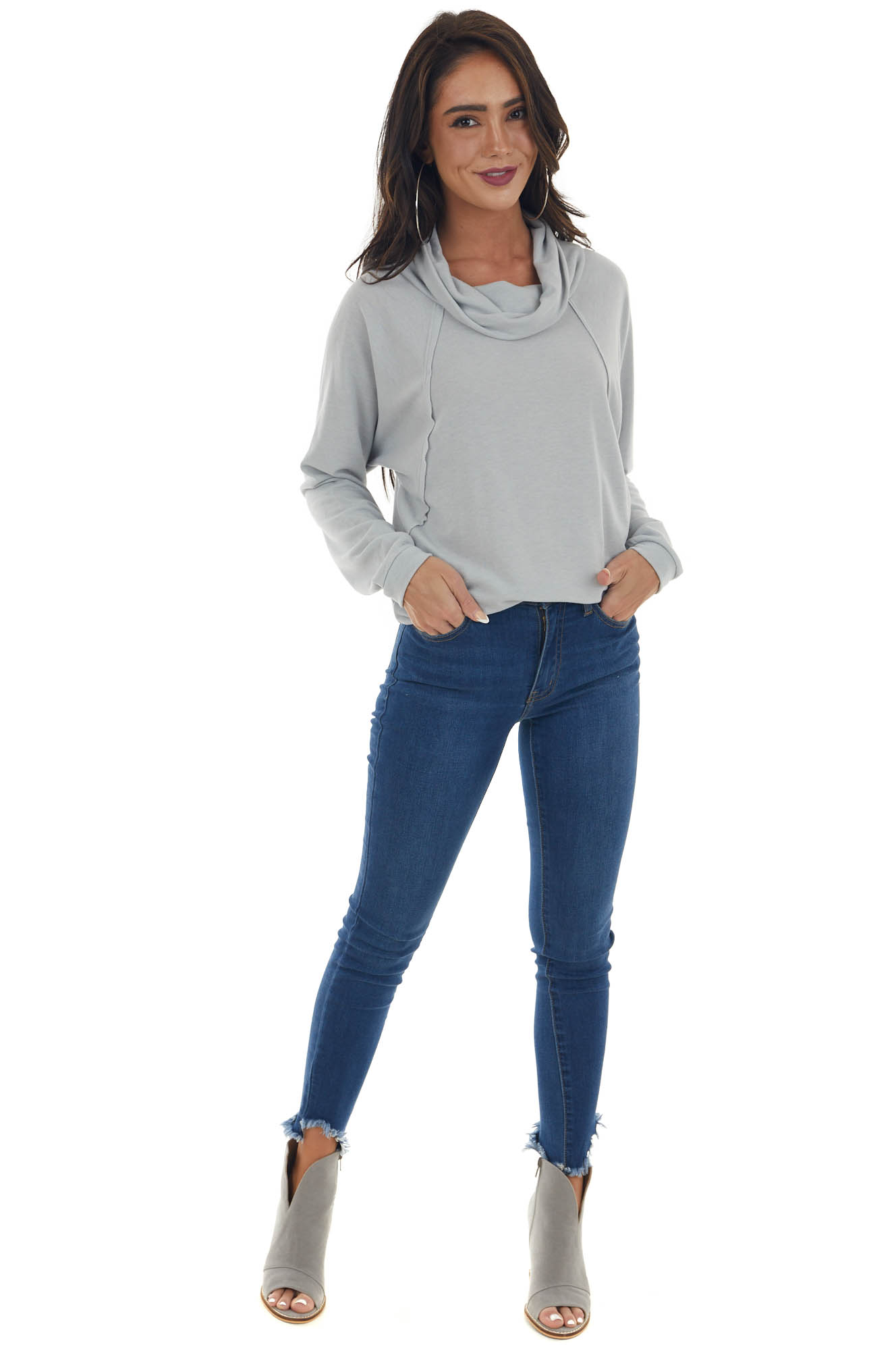 Pastel Grey Cowl Neck Long Sleeve Knit Top