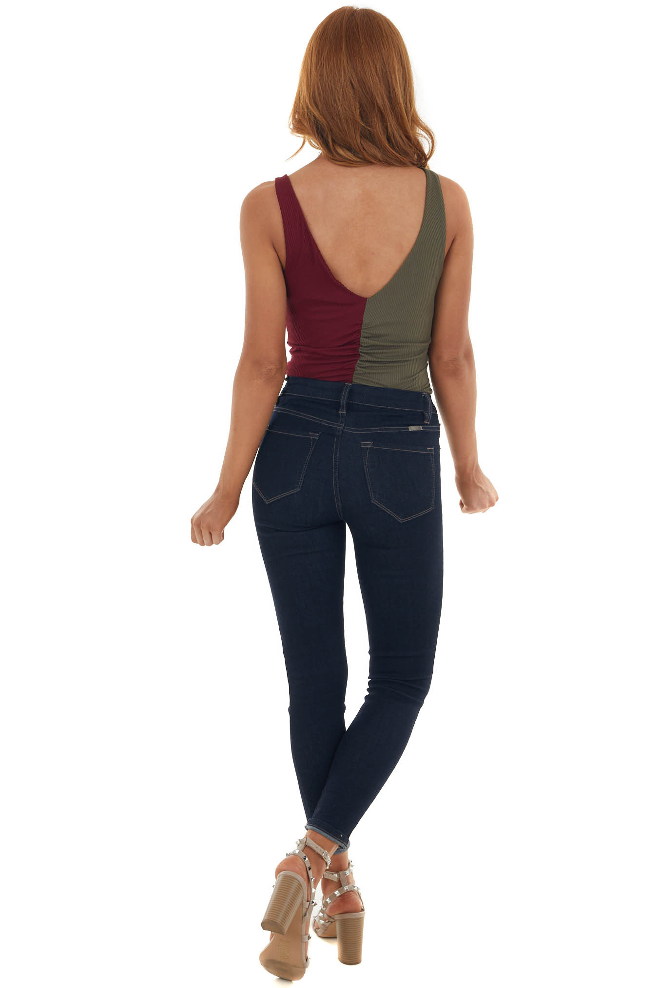 Dark Olive and Wine Sleeveless Bodysuit with Ruching Details