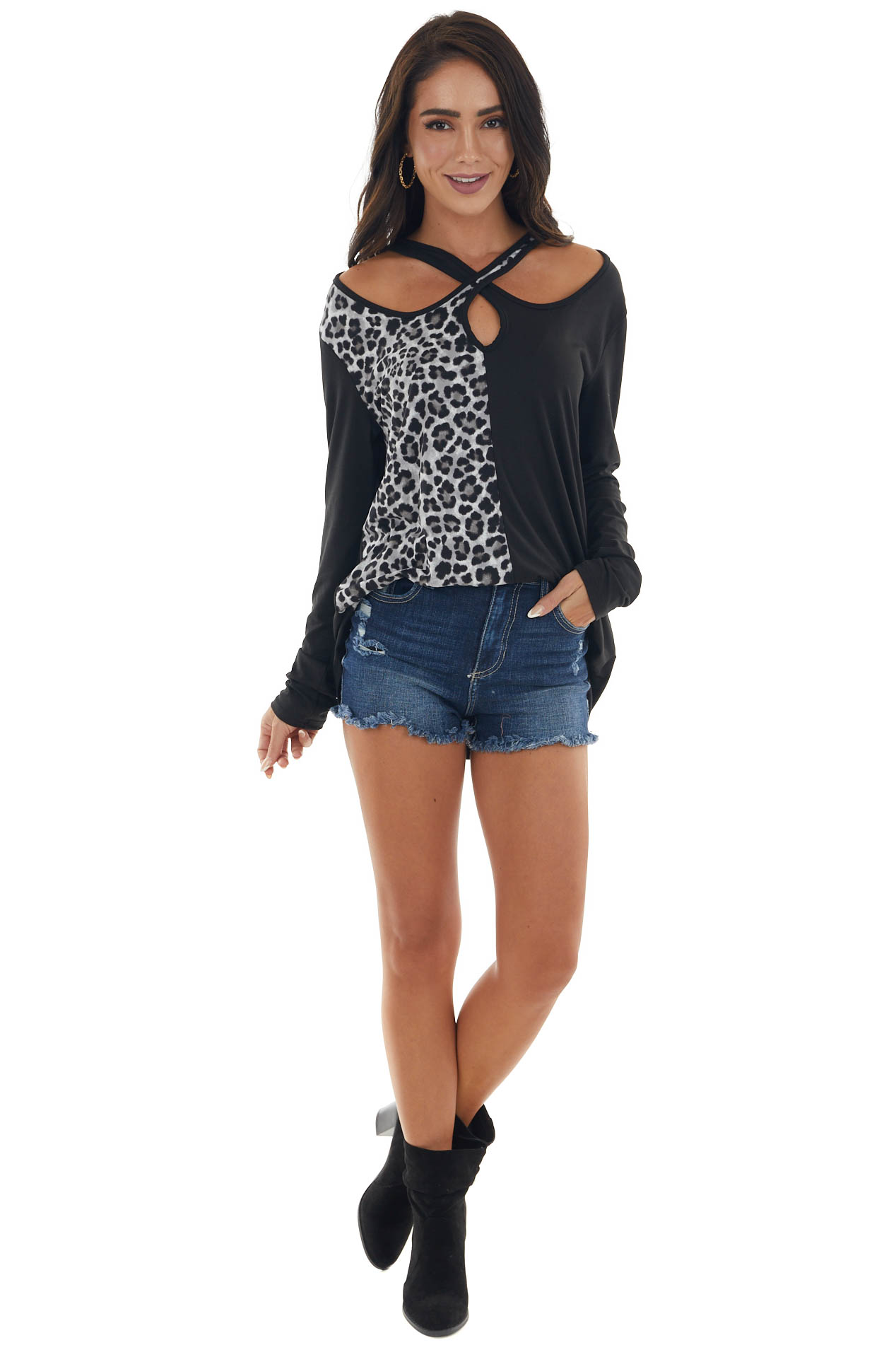 Black and Leopard Keyhole Cutout Top