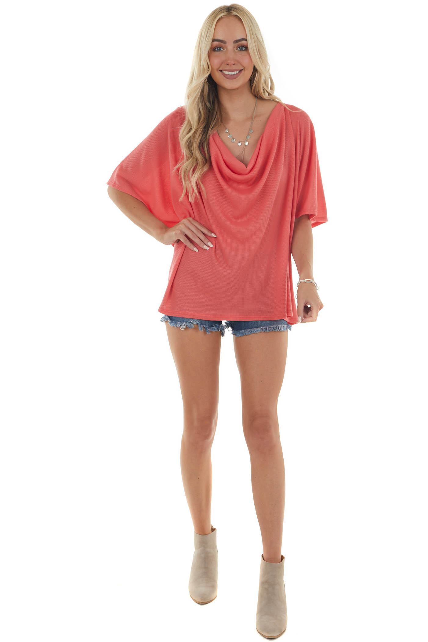 Hot Coral Draped Neck Oversized Thermal Top