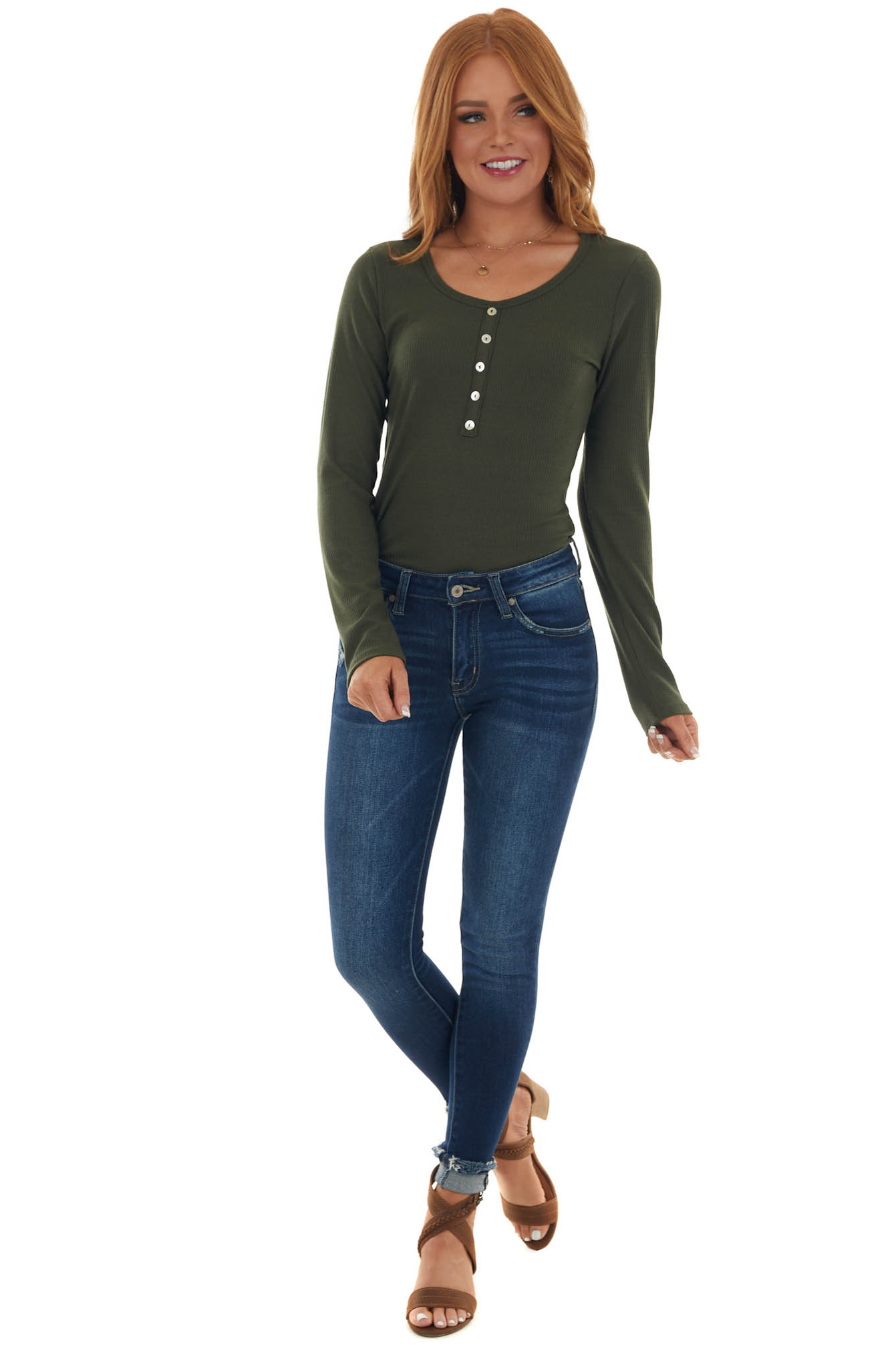 Forest Green Ribbed Knit Long Sleeve Bodysuit