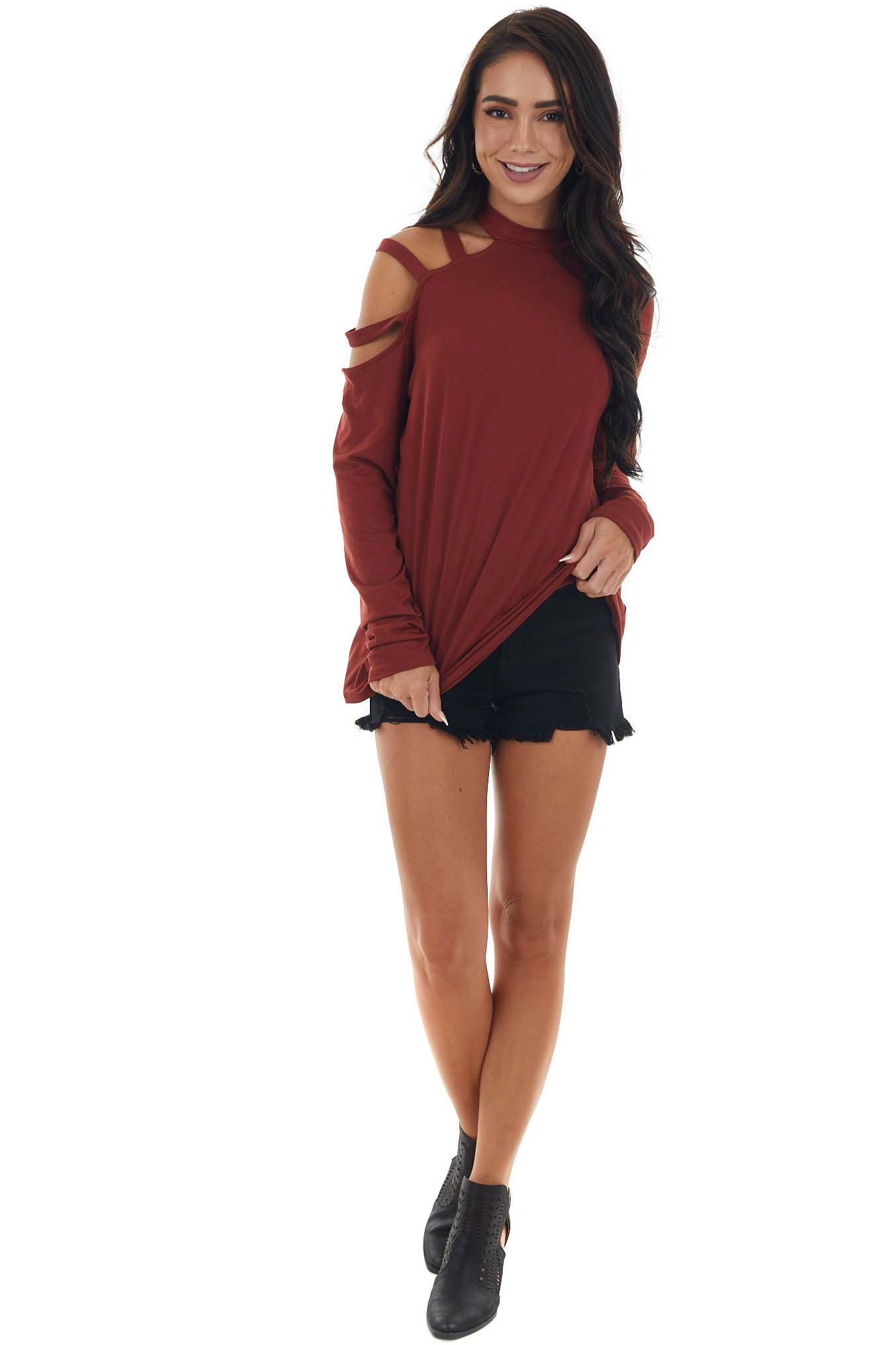 Sangria One Strappy Cold Shoulder Knit Top